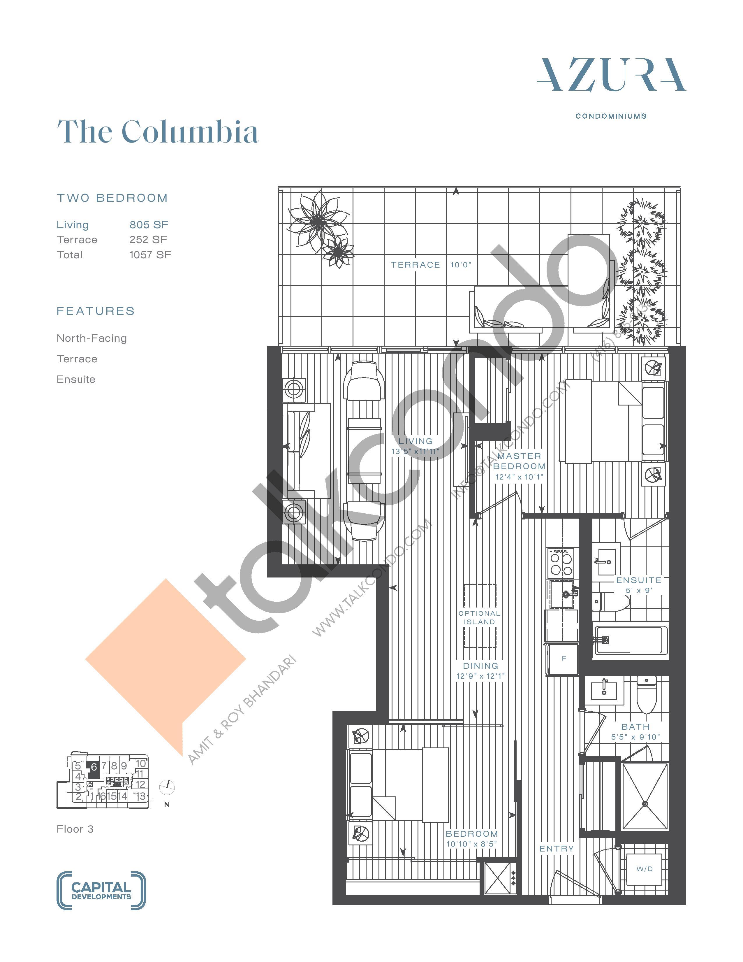 The Columbia Floor Plan at Azura Condos - 805 sq.ft