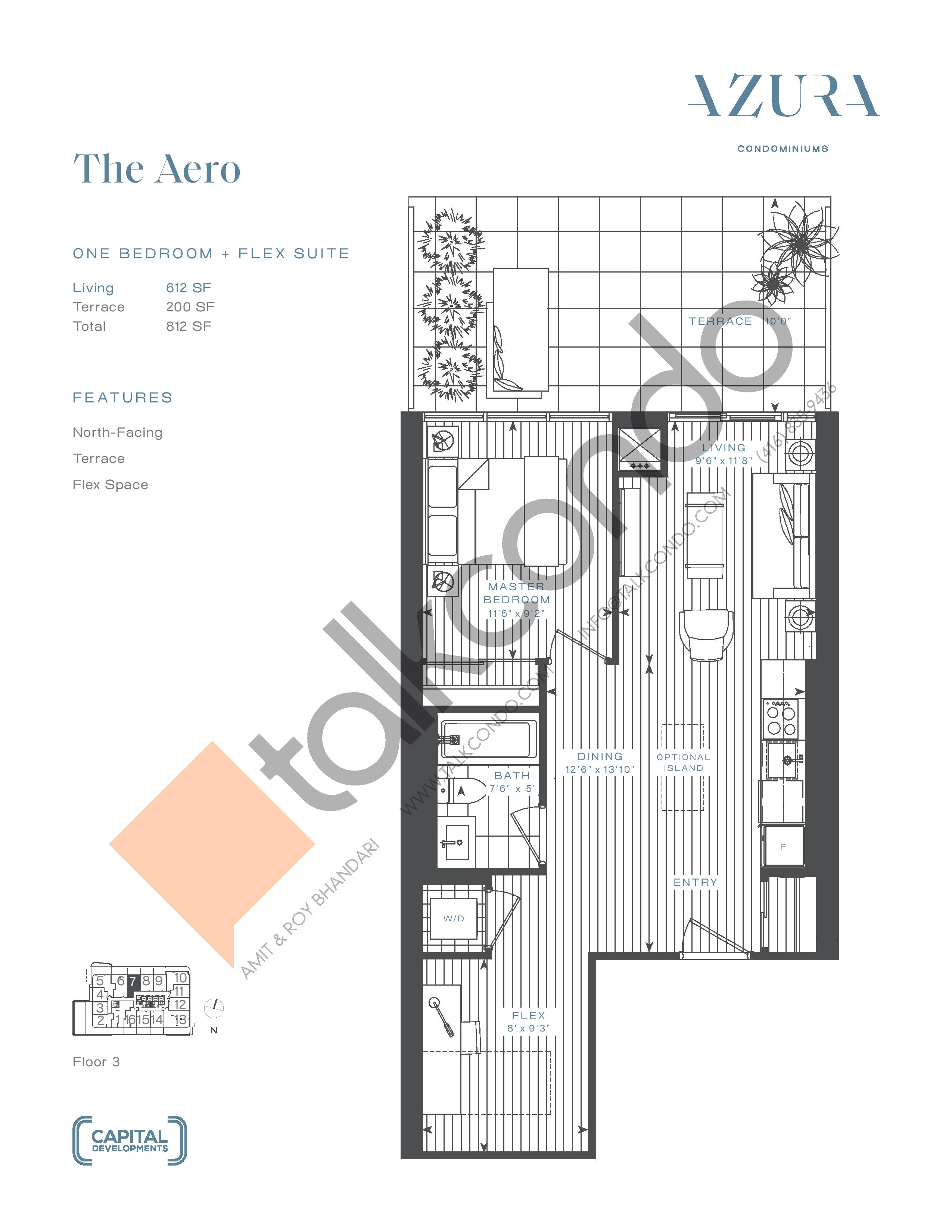 The Aero Floor Plan at Azura Condos - 612 sq.ft