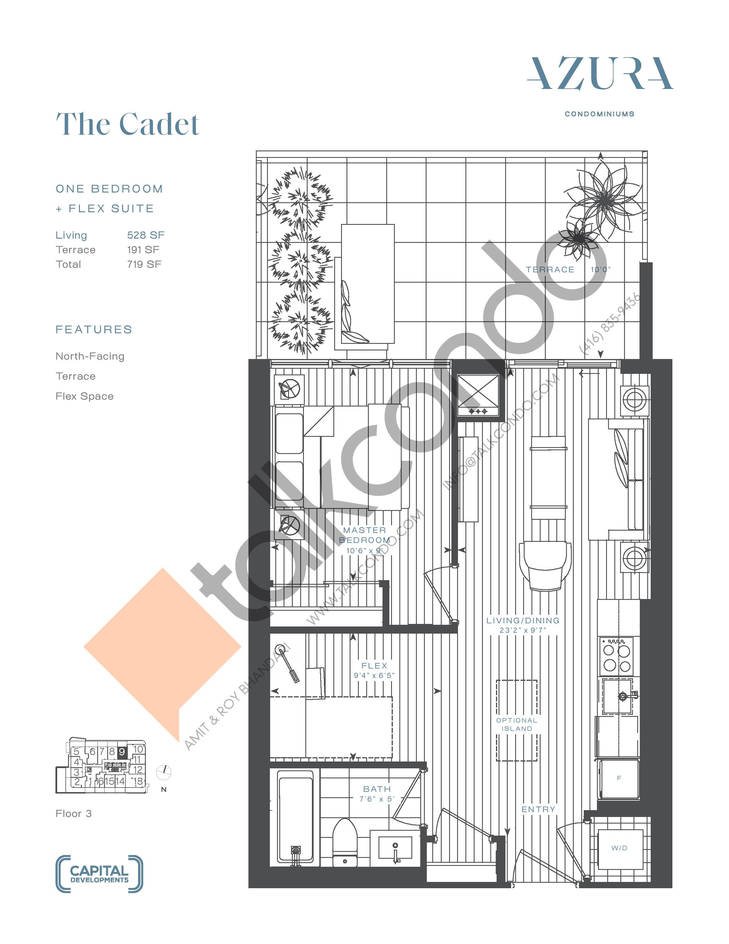 The Cadet Floor Plan at Azura Condos - 528 sq.ft