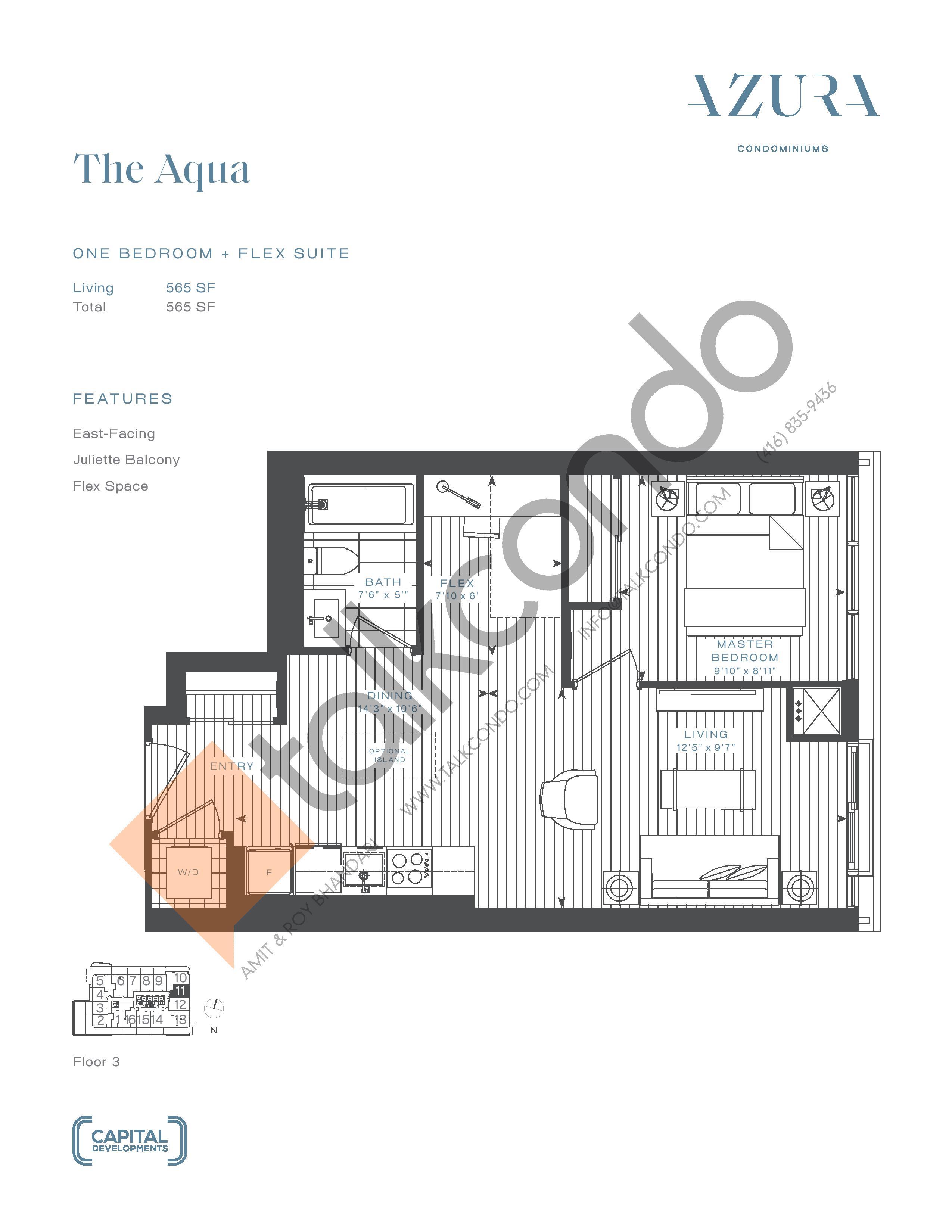 The Aqua Floor Plan at Azura Condos - 565 sq.ft