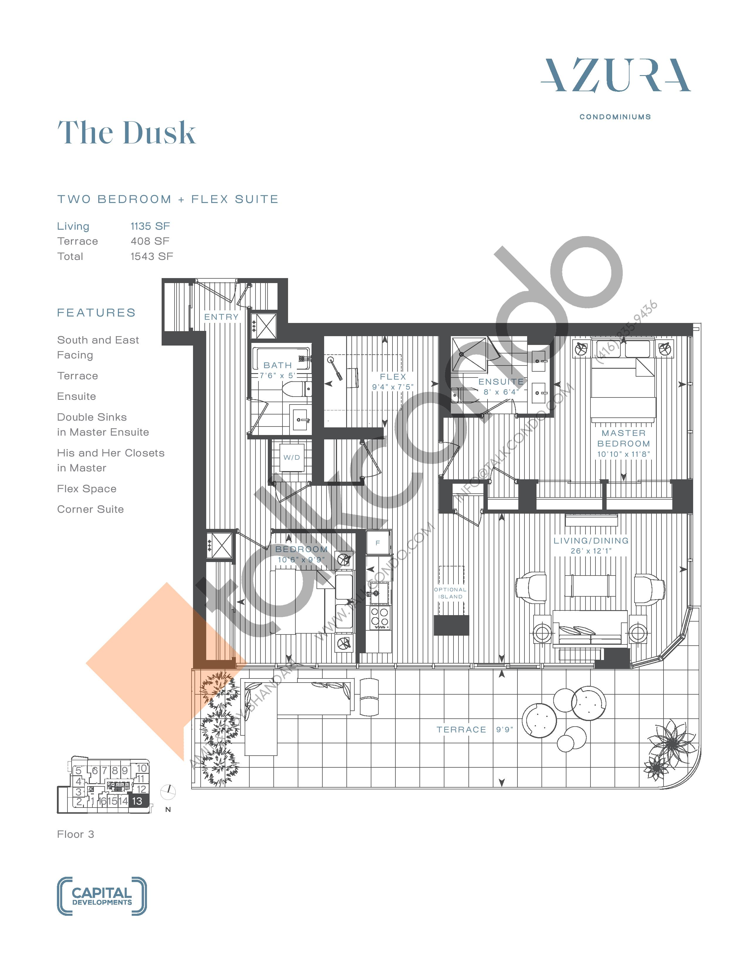 The Dusk Floor Plan at Azura Condos - 1135 sq.ft