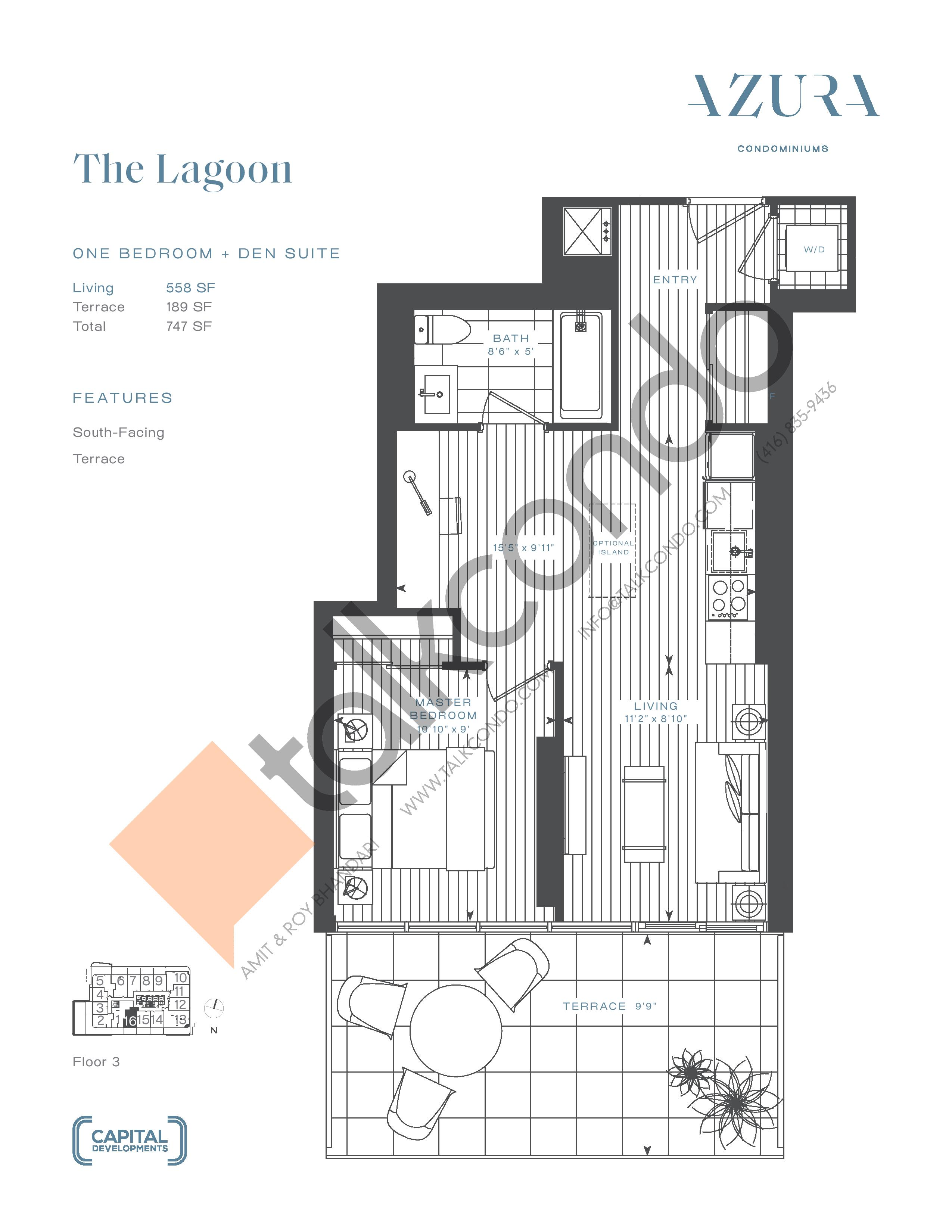 The Lagoon Floor Plan at Azura Condos - 558 sq.ft