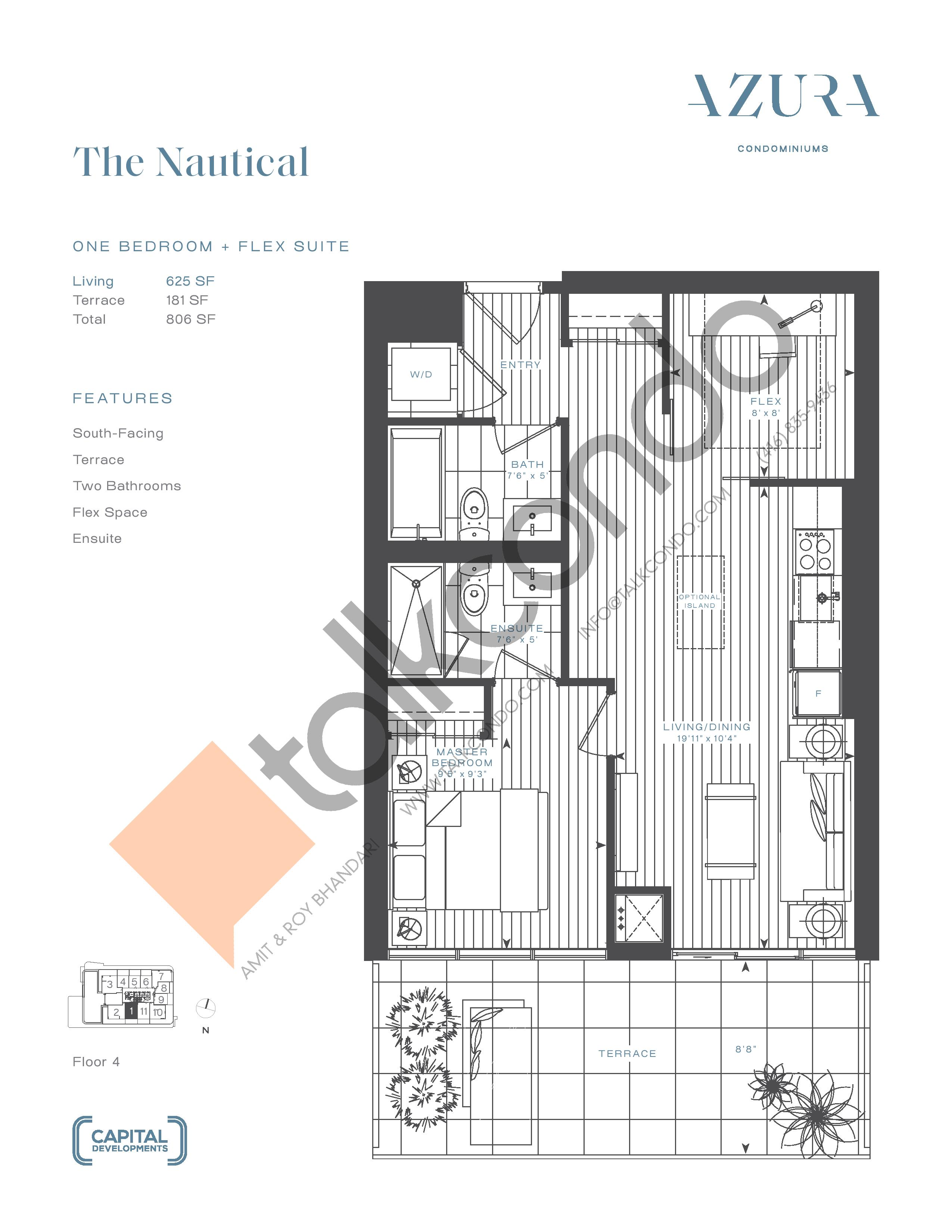 The Nautical Floor Plan at Azura Condos - 625 sq.ft