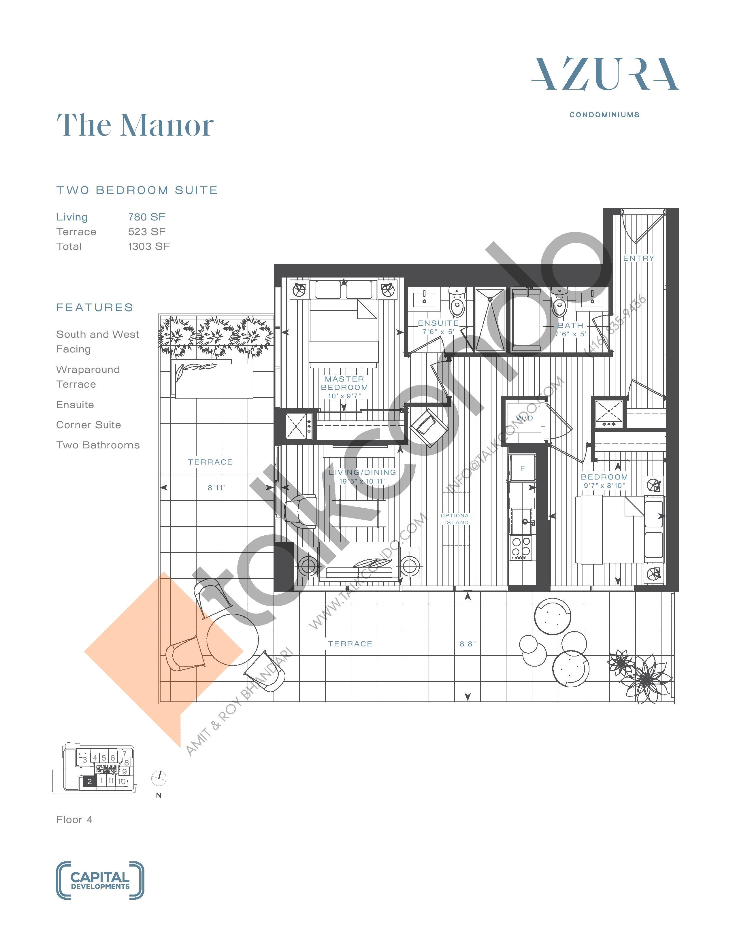 The Manor (Terrace) Floor Plan at Azura Condos - 780 sq.ft