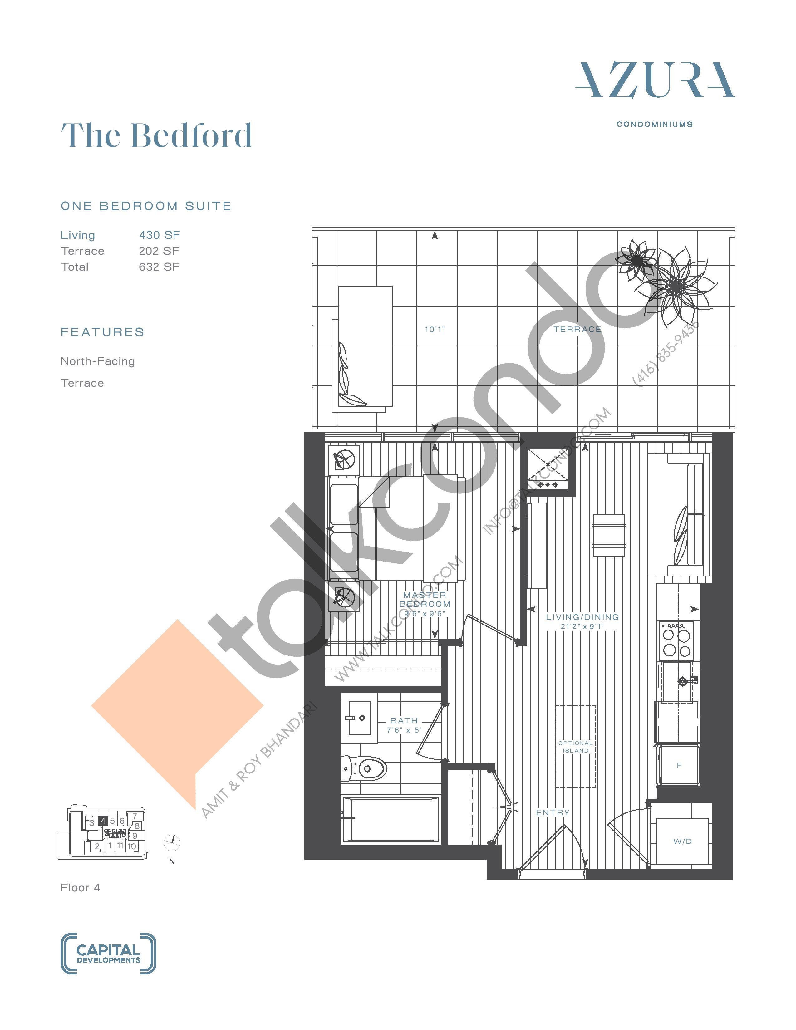The Bedford Floor Plan at Azura Condos - 430 sq.ft