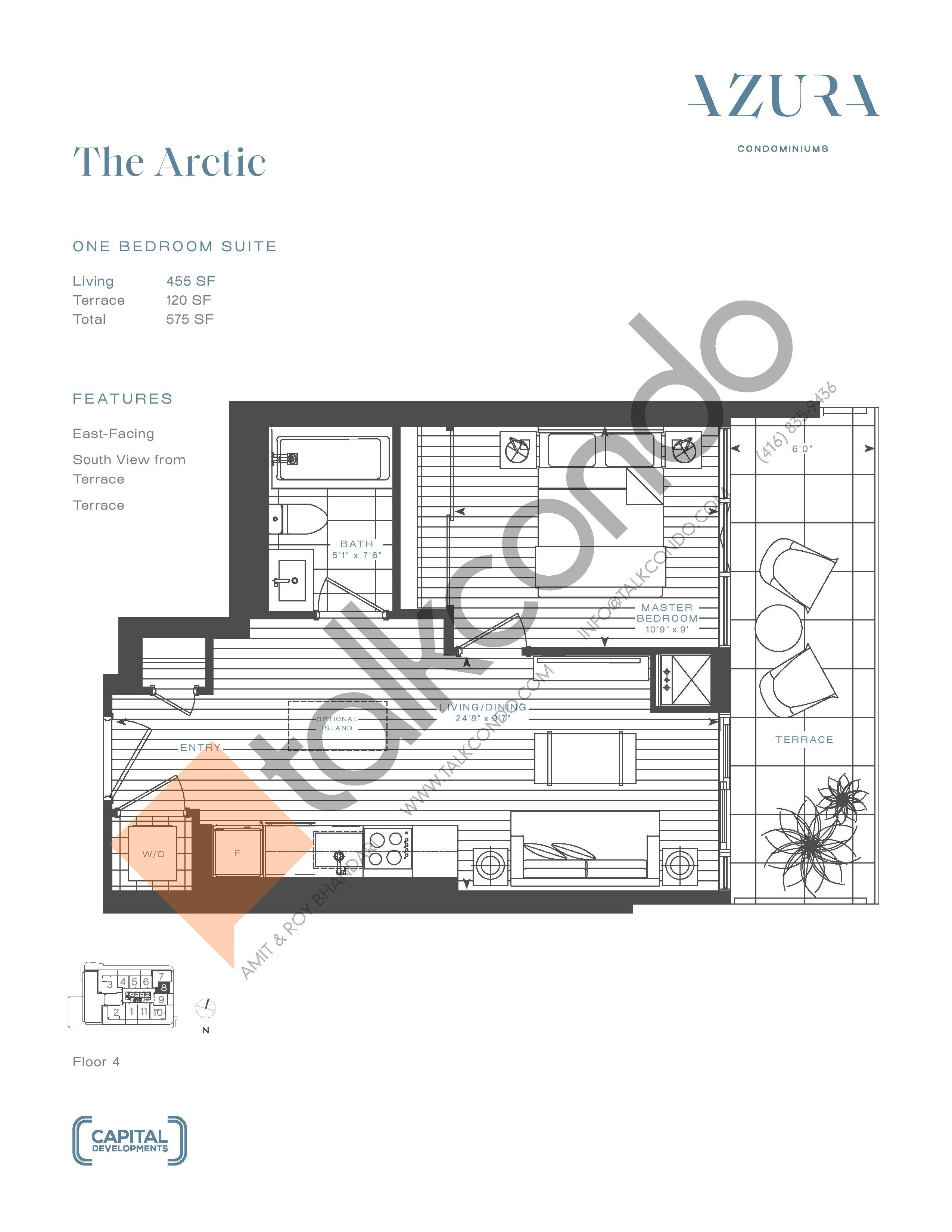 The Arctic Floor Plan at Azura Condos - 455 sq.ft