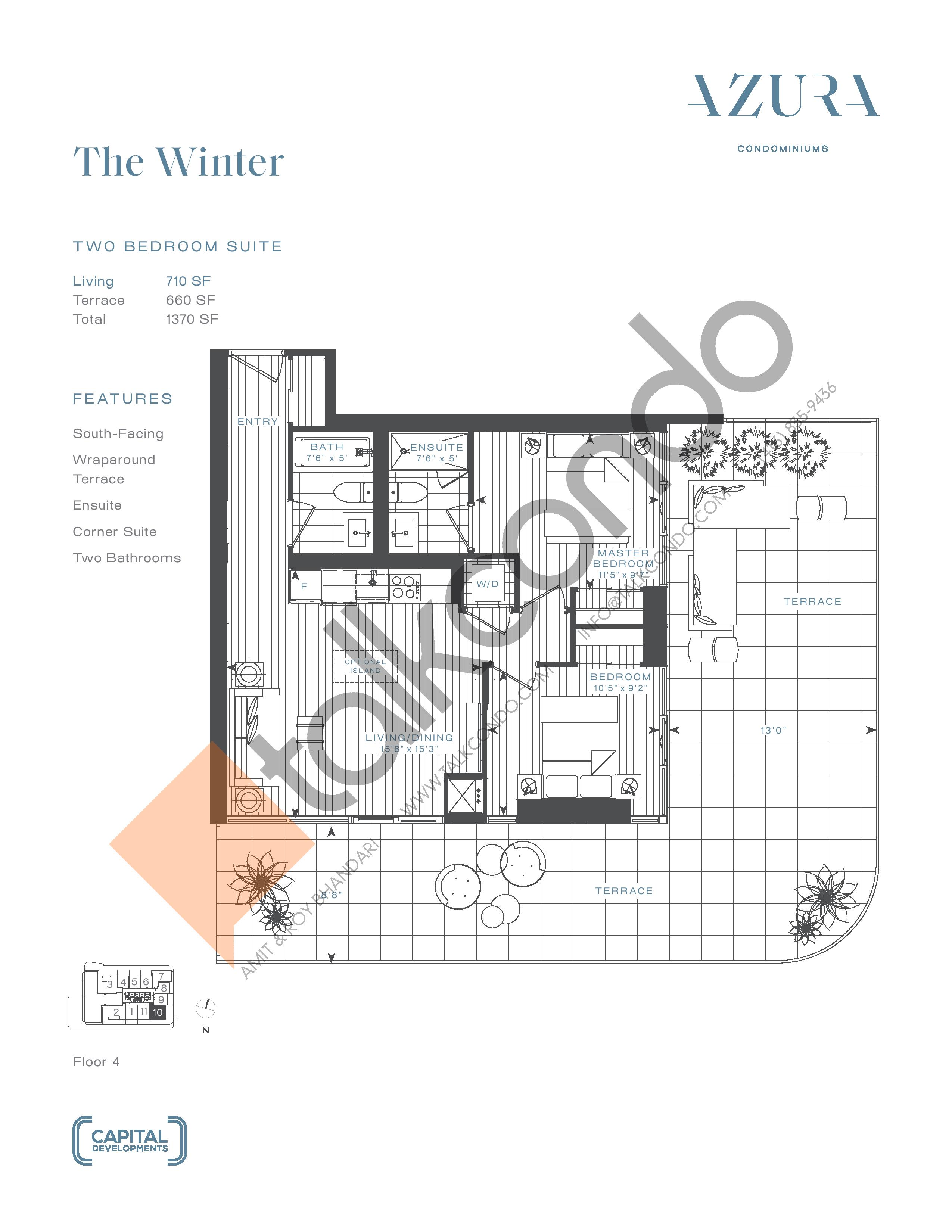 The Winter Floor Plan at Azura Condos - 710 sq.ft