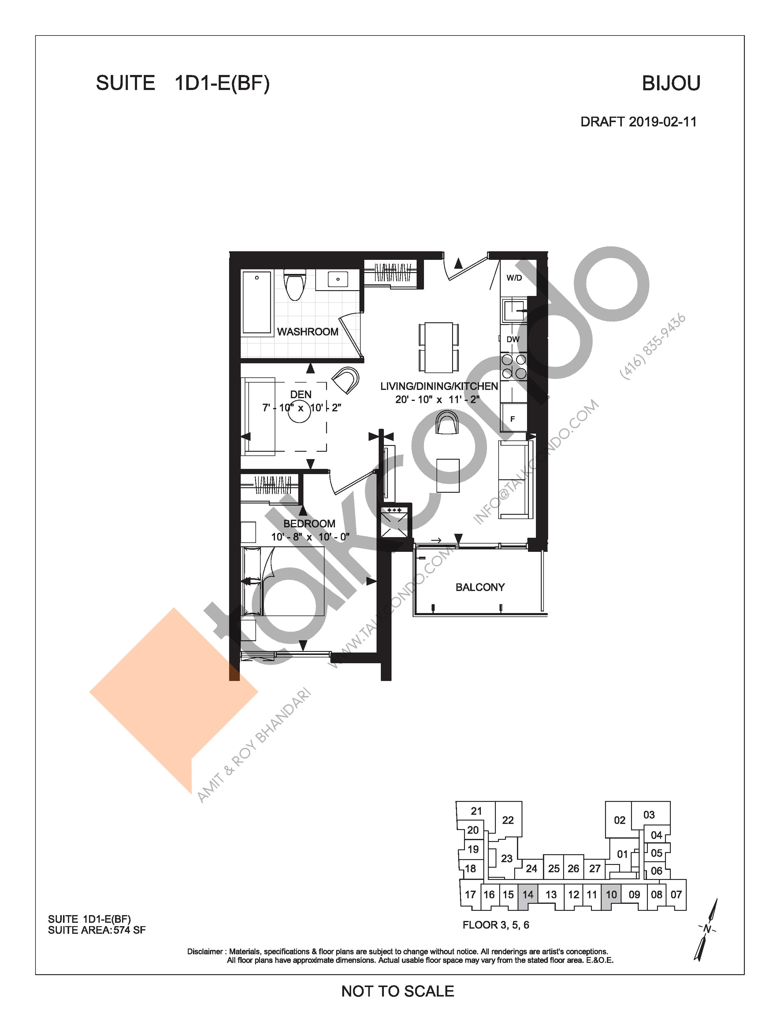 Suite 1D1-E(BF) Floor Plan at Bijou On Bloor Condos - 574 sq.ft