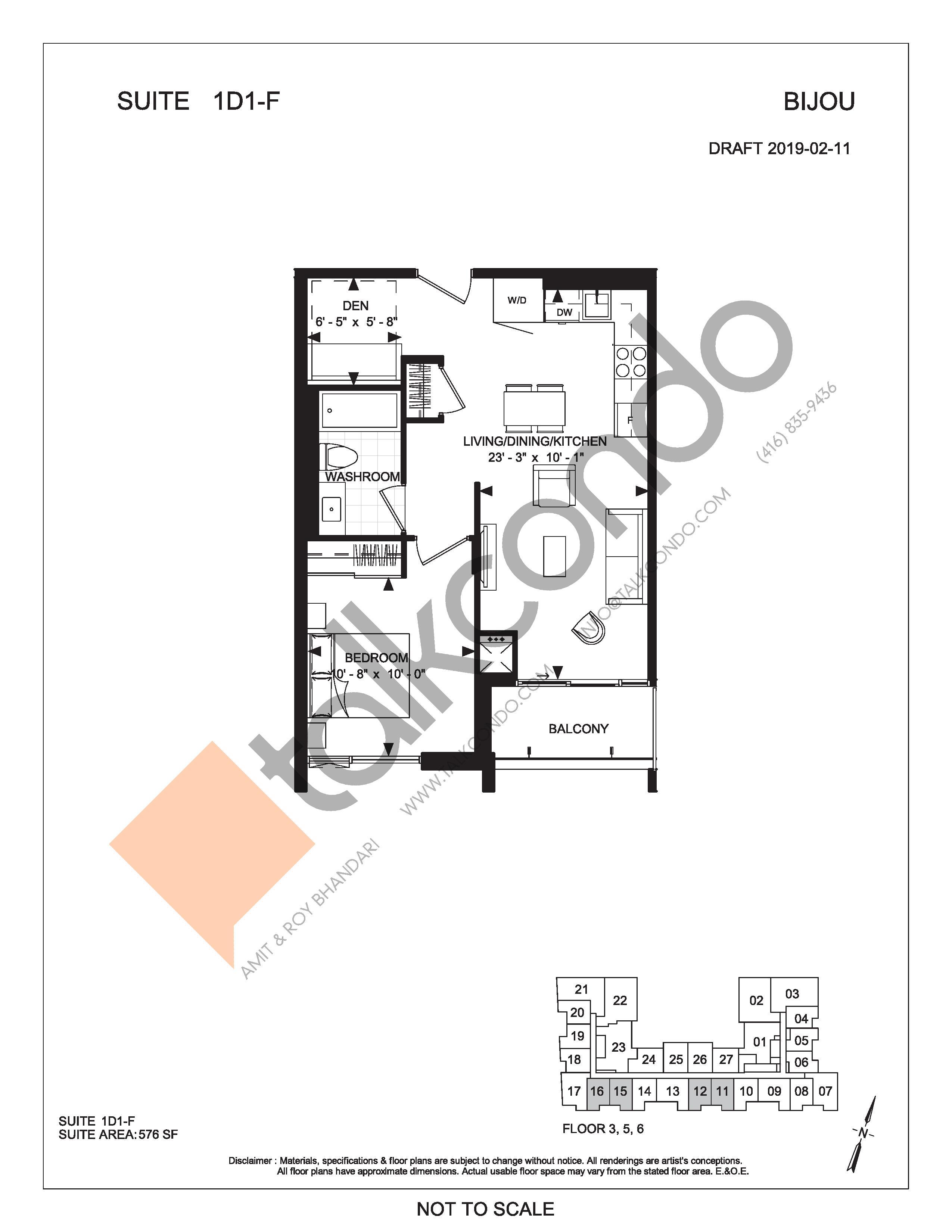 Suite 1D1-F Floor Plan at Bijou On Bloor Condos - 576 sq.ft