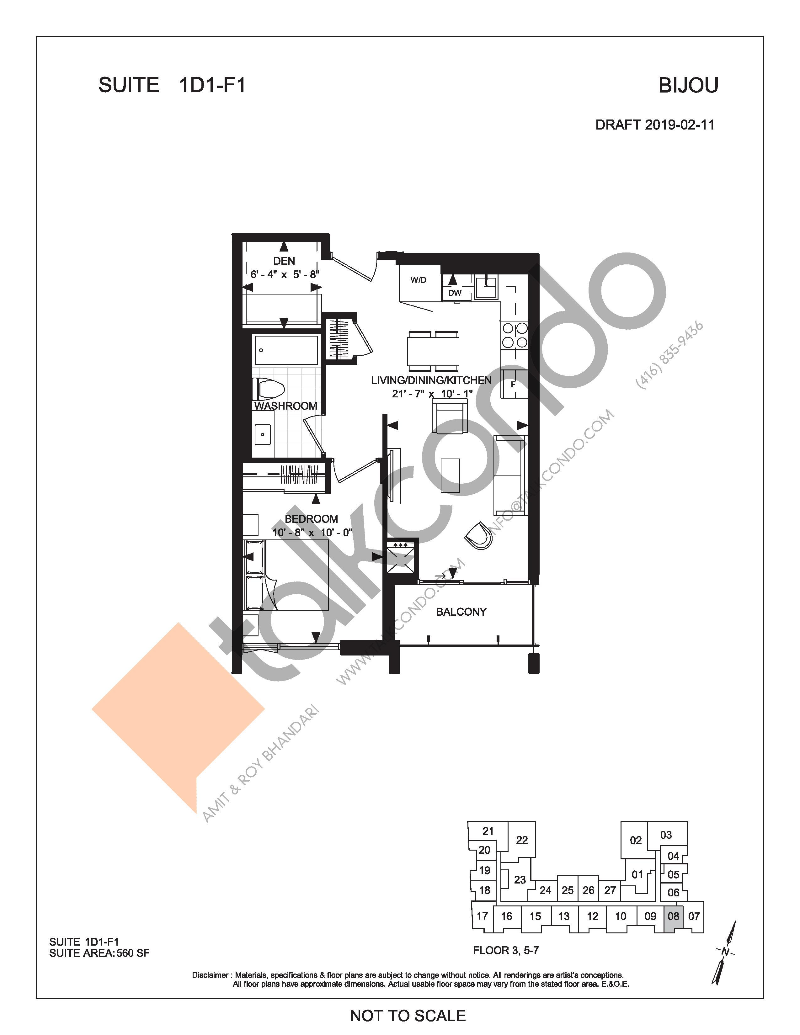 Suite 1D1-F1 Floor Plan at Bijou On Bloor Condos - 560 sq.ft