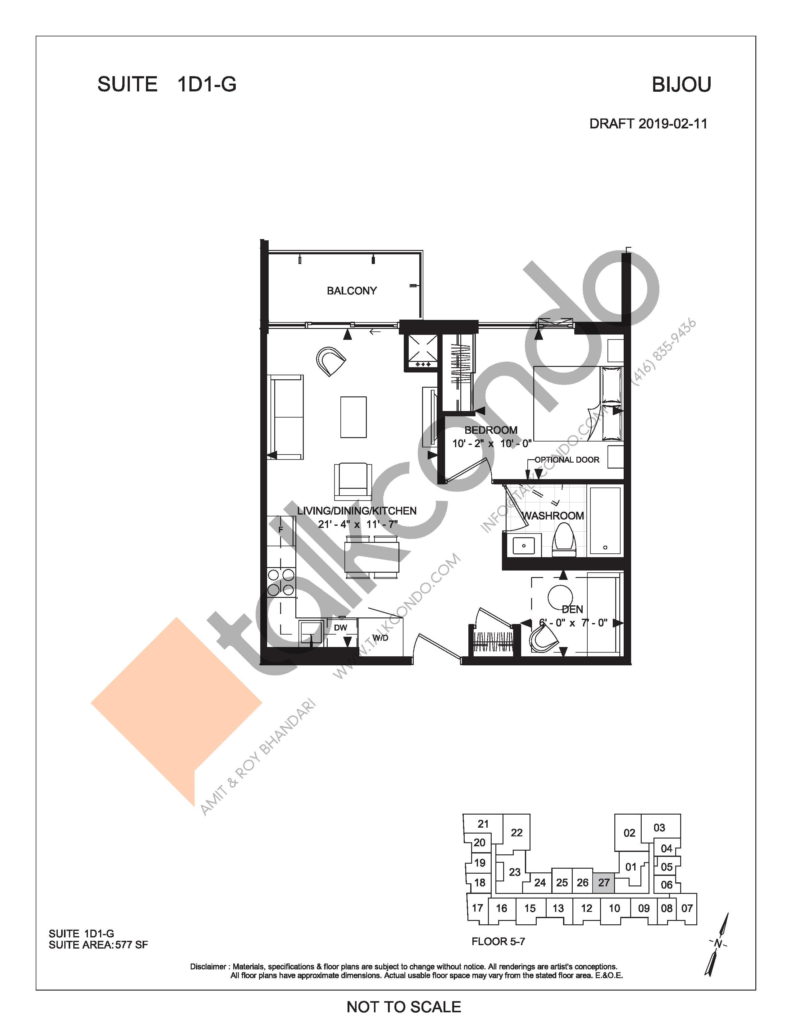 Suite 1D1-G Floor Plan at Bijou On Bloor Condos - 577 sq.ft