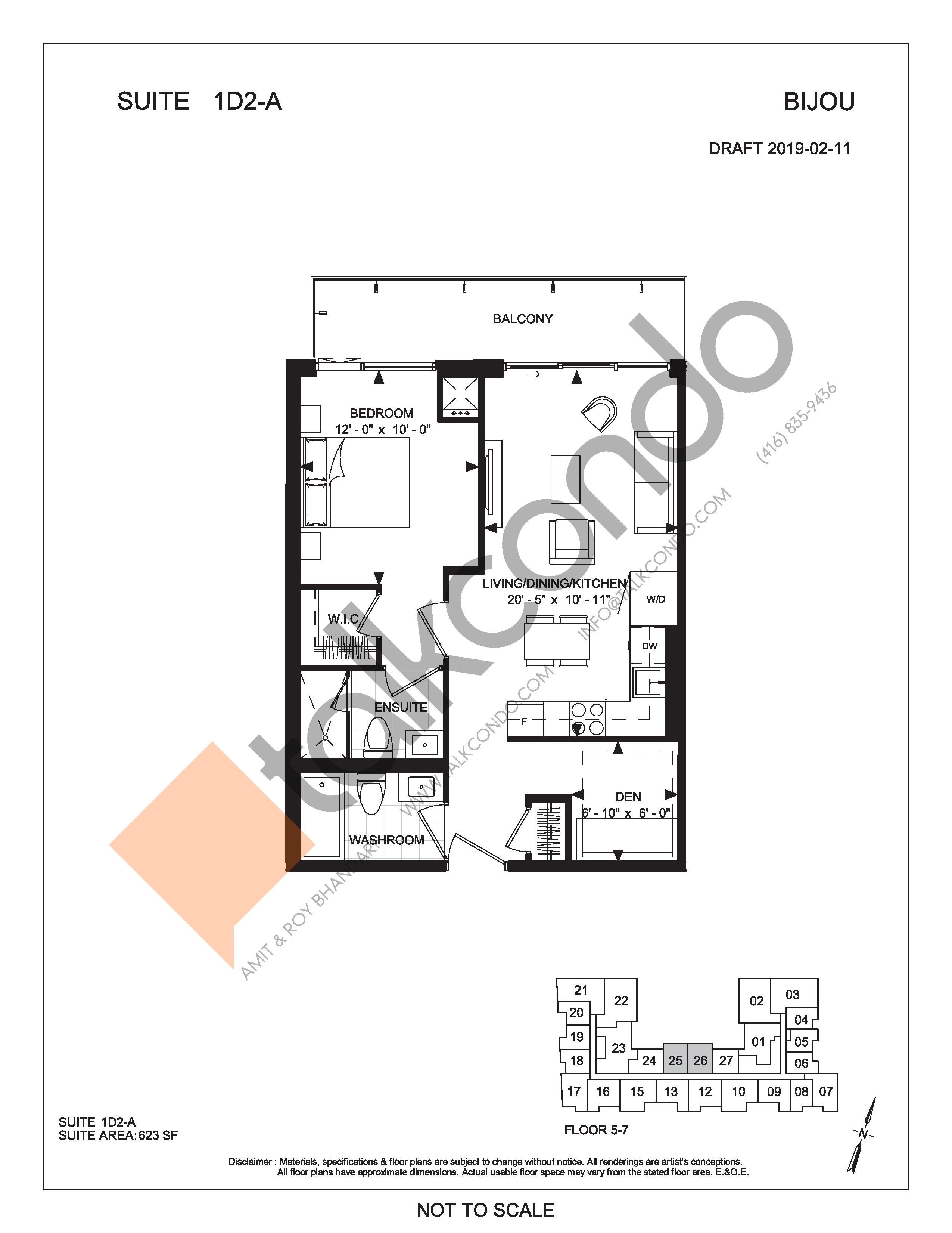 Suite 1D2-A Floor Plan at Bijou On Bloor Condos - 623 sq.ft