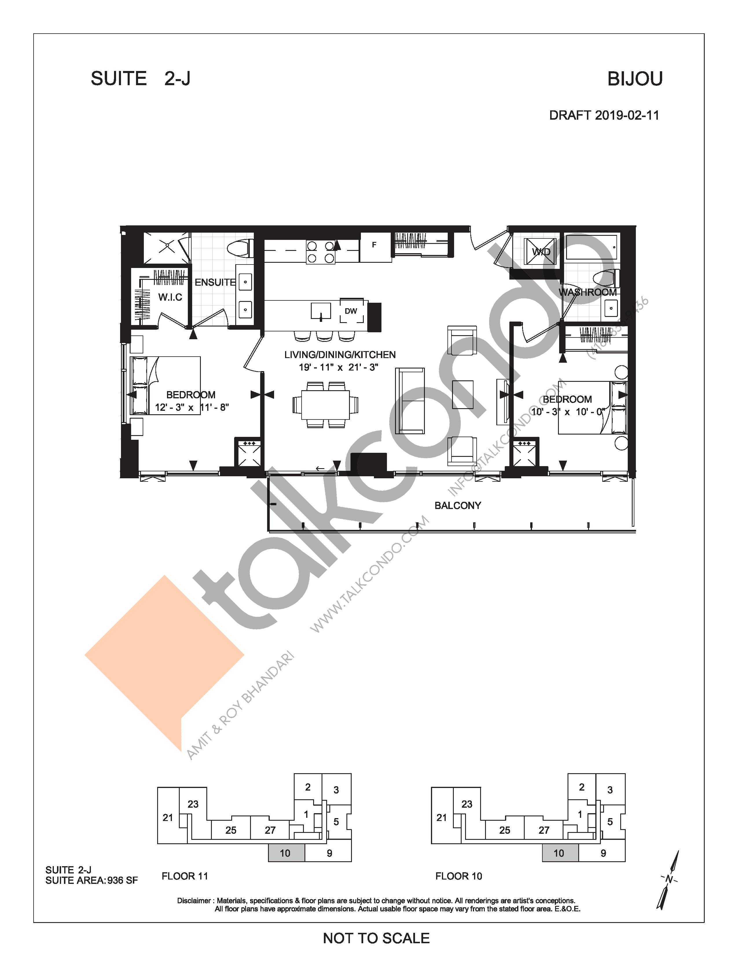 Suite 2-J Floor Plan at Bijou On Bloor Condos - 936 sq.ft