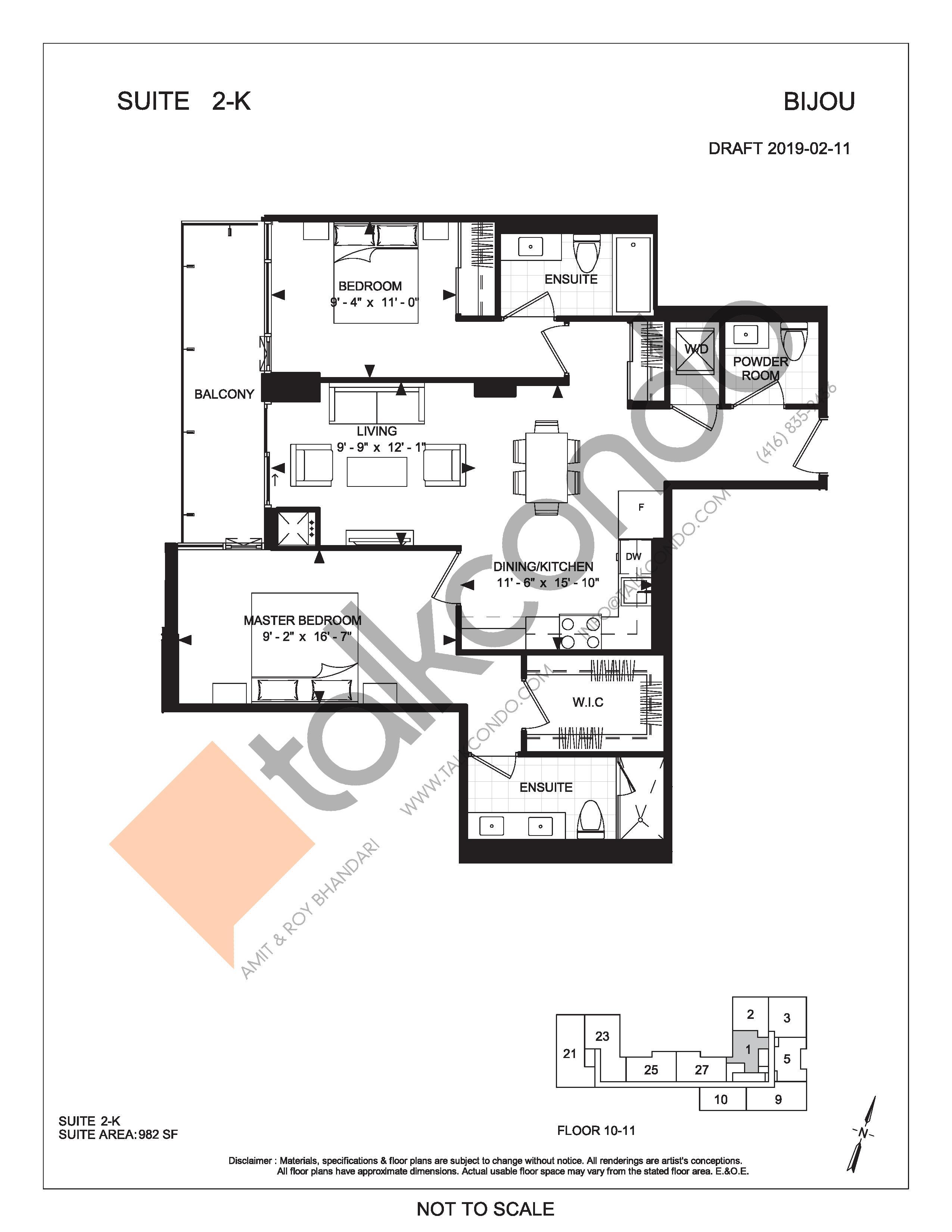 Suite 2-K Floor Plan at Bijou On Bloor Condos - 982 sq.ft