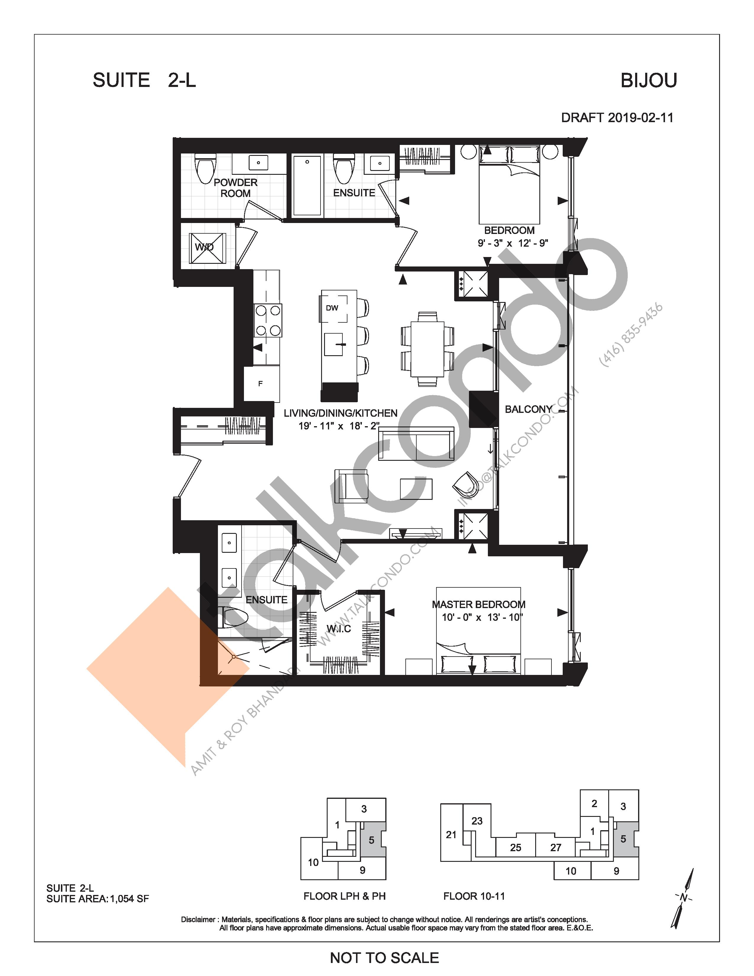 Suite 2-L Floor Plan at Bijou On Bloor Condos - 1054 sq.ft