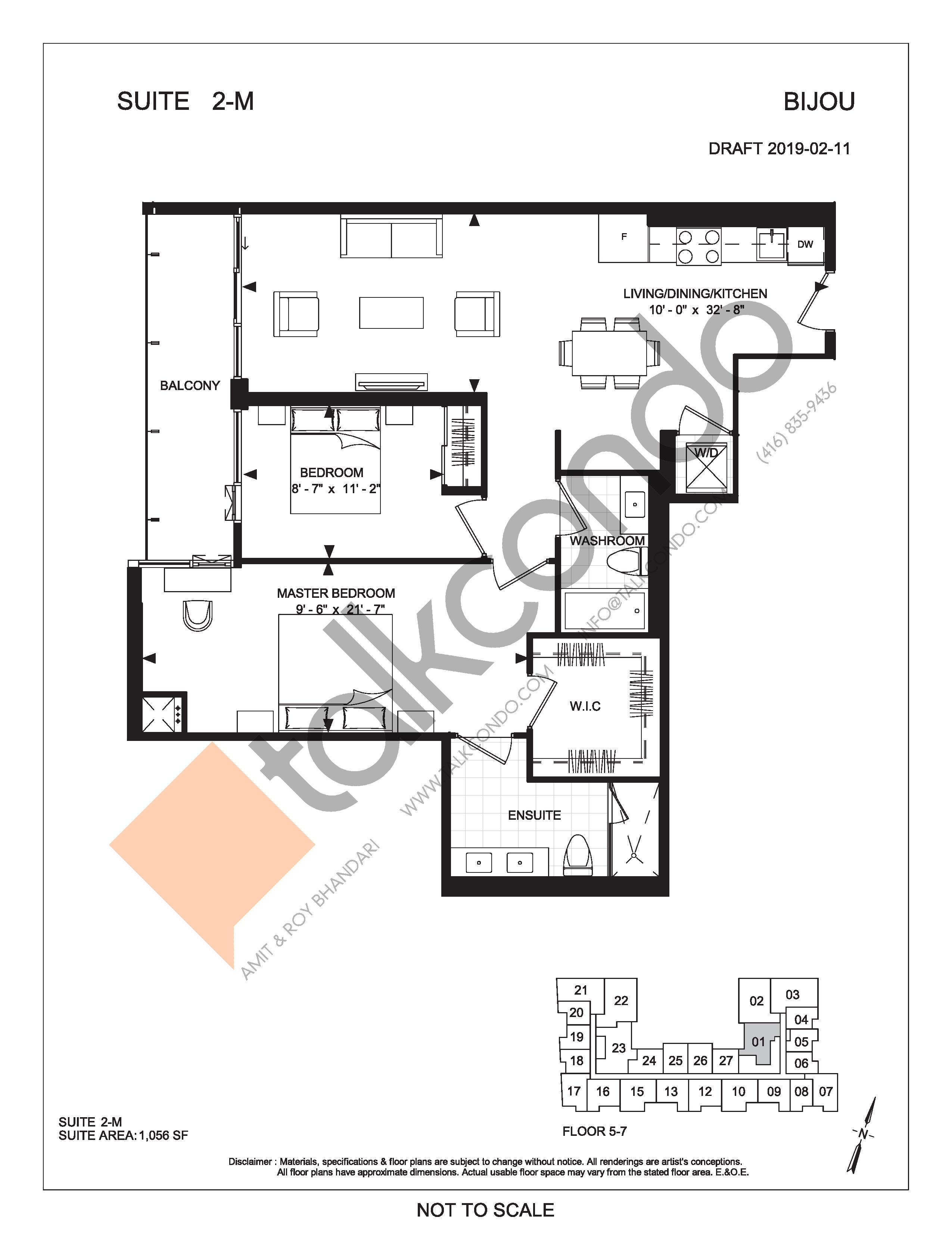 Suite 2-M Floor Plan at Bijou On Bloor Condos - 1056 sq.ft