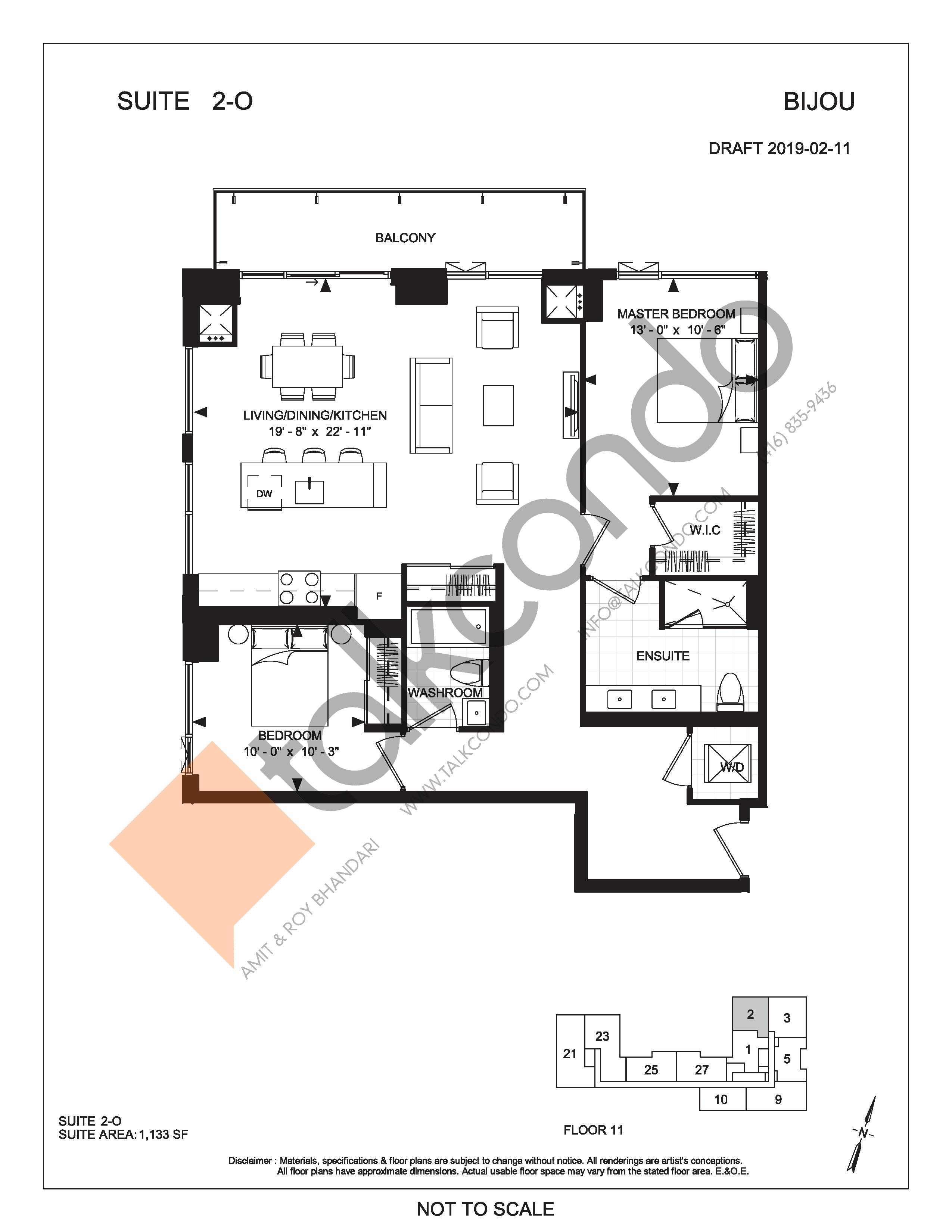 Suite 2-O Floor Plan at Bijou On Bloor Condos - 1133 sq.ft