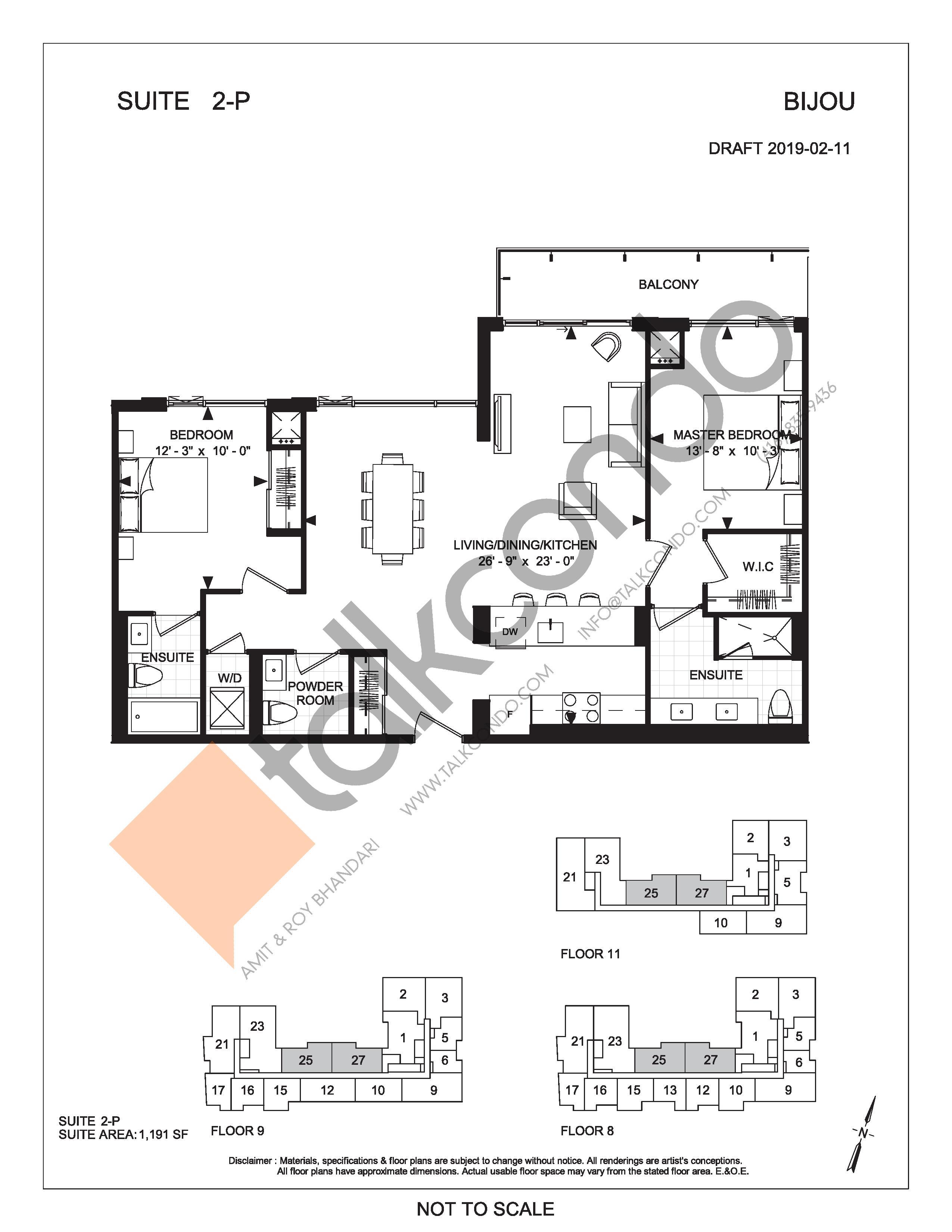 Suite 2-P Floor Plan at Bijou On Bloor Condos - 1191 sq.ft