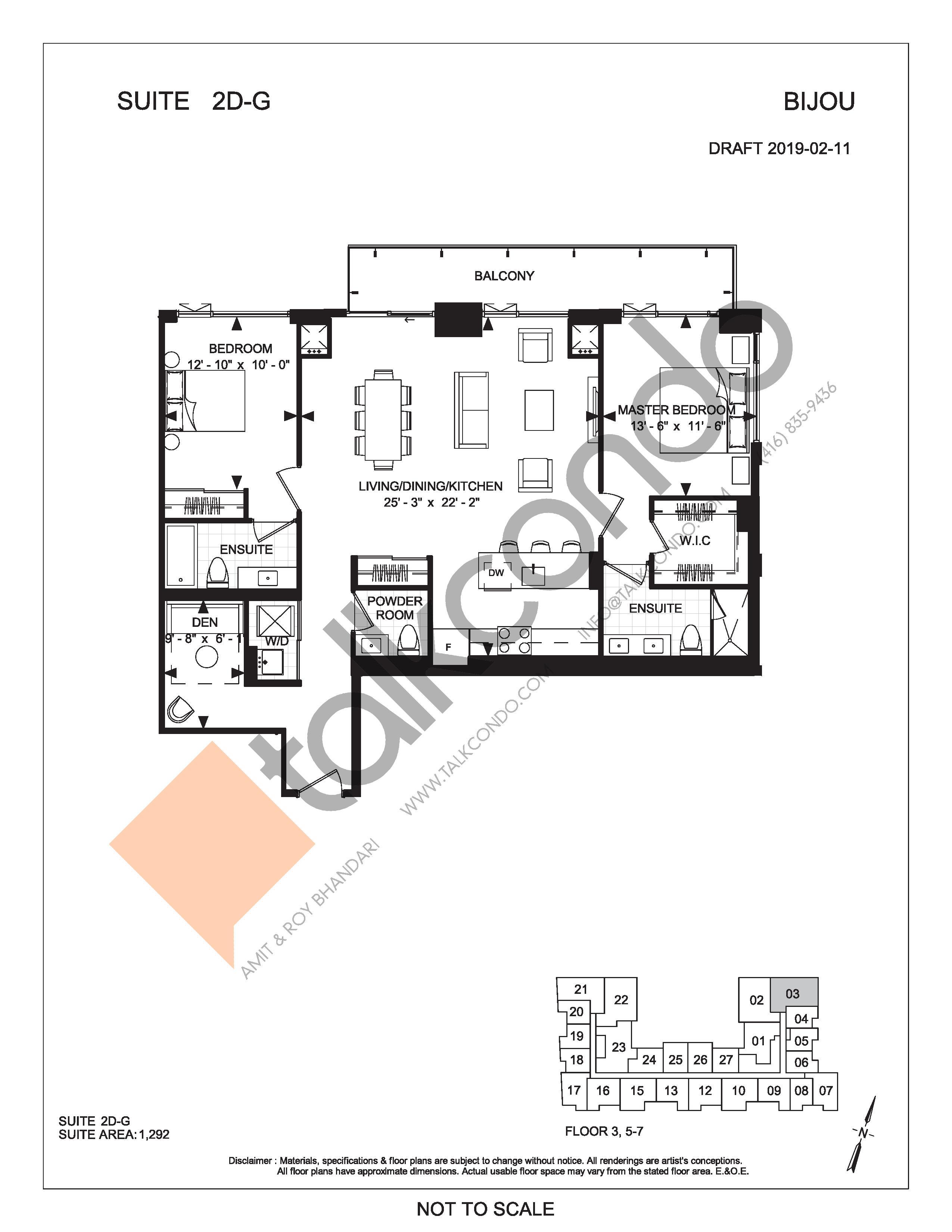 Suite 2D-G Floor Plan at Bijou On Bloor Condos - 1292 sq.ft