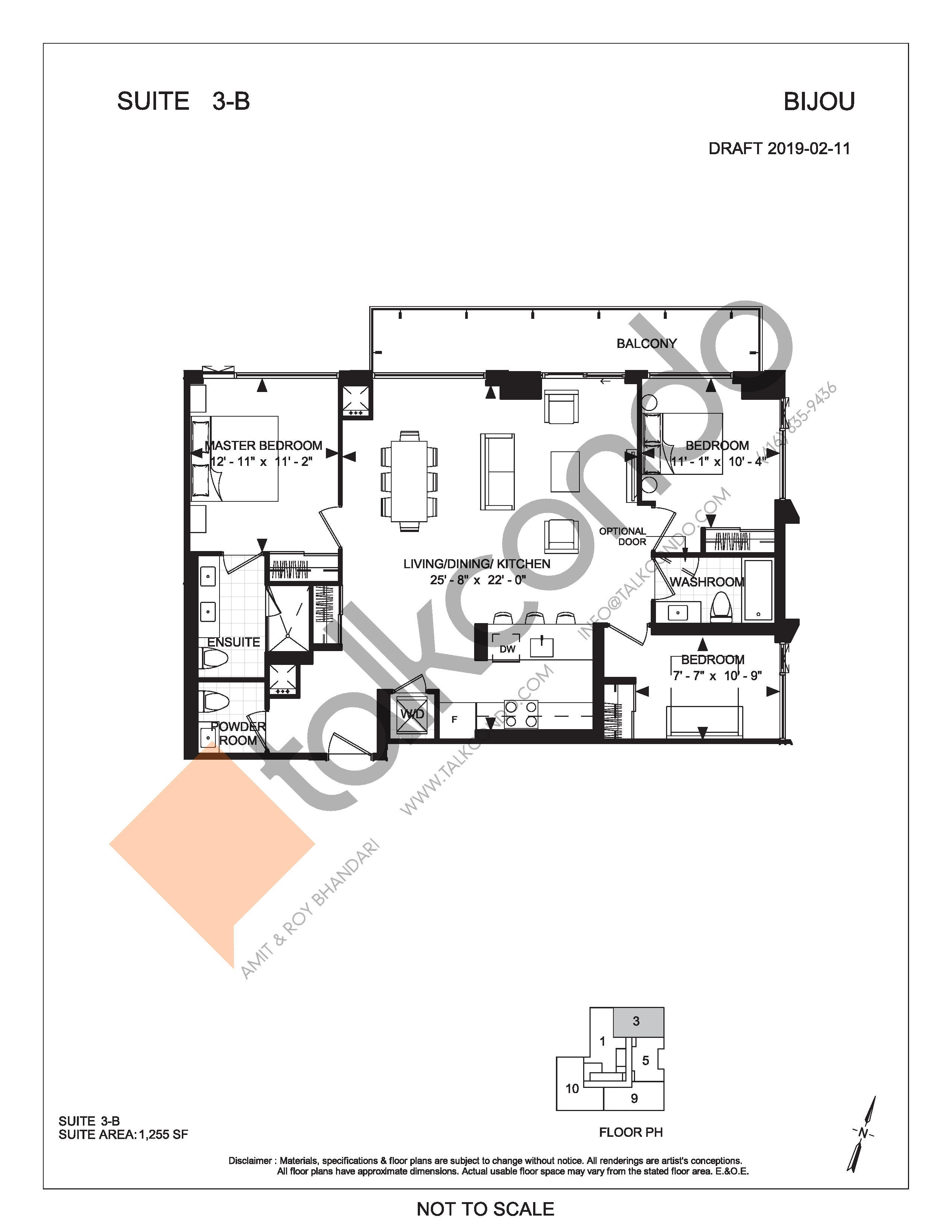 Suite 3-B Floor Plan at Bijou On Bloor Condos - 1255 sq.ft