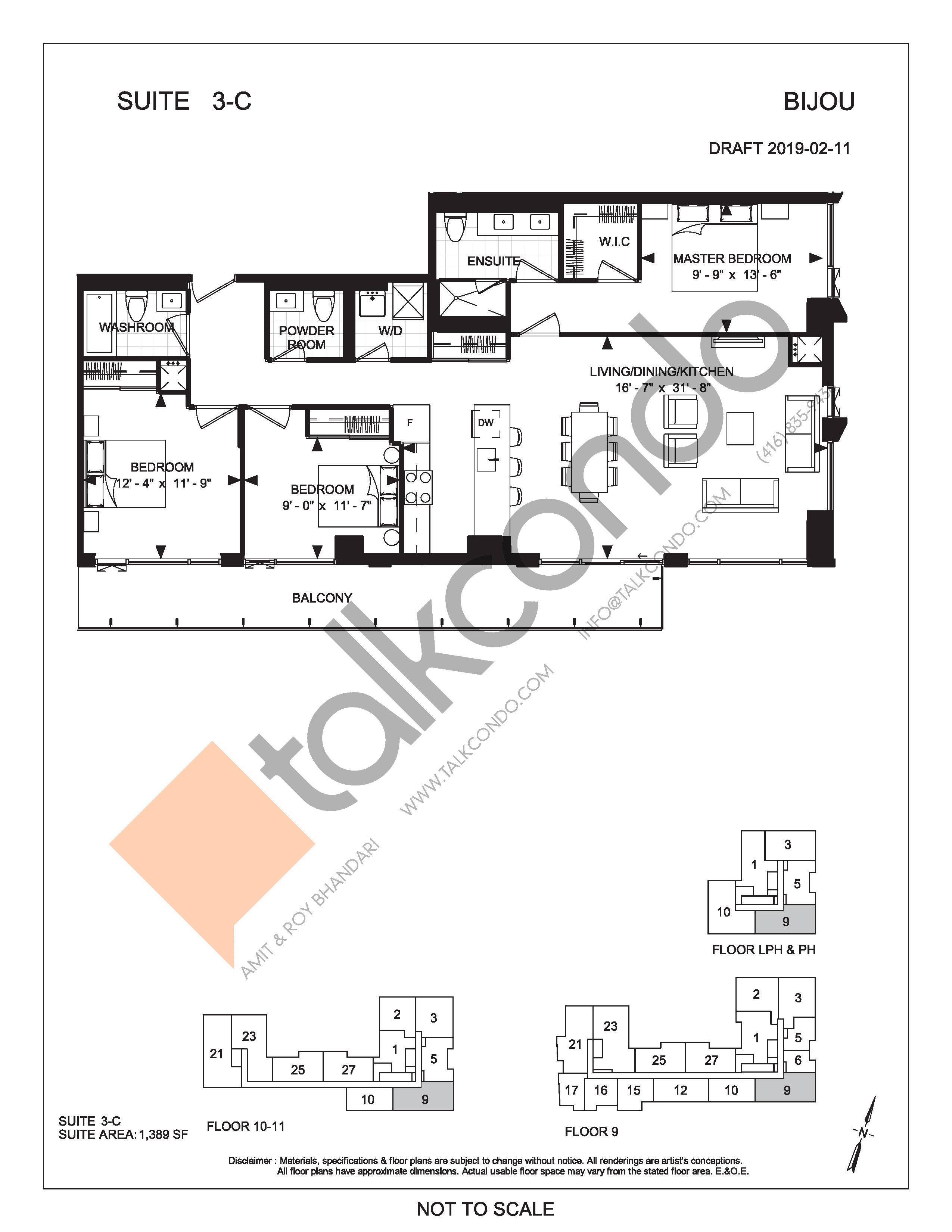 Suite 3-C Floor Plan at Bijou On Bloor Condos - 1389 sq.ft