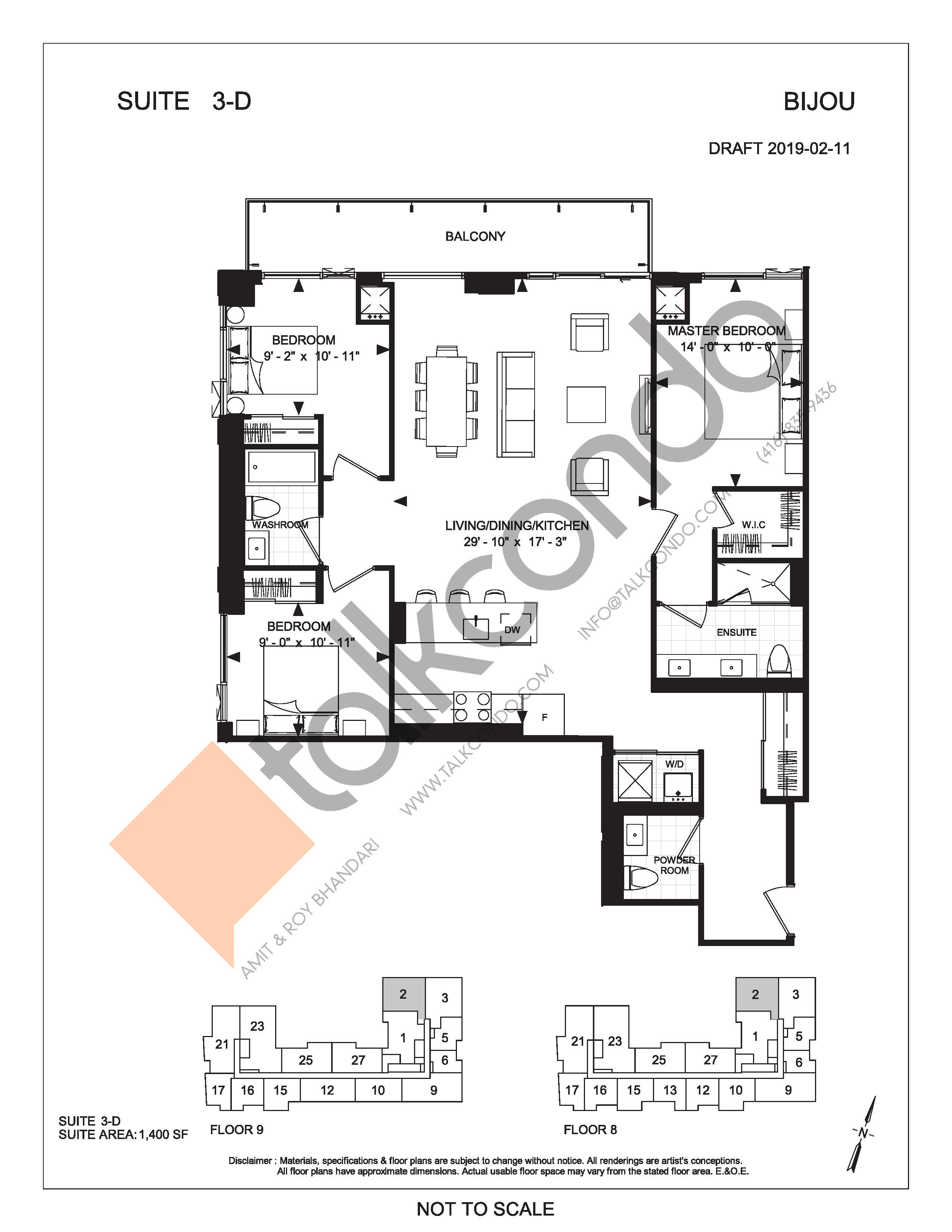 Suite 3-D Floor Plan at Bijou On Bloor Condos - 1400 sq.ft