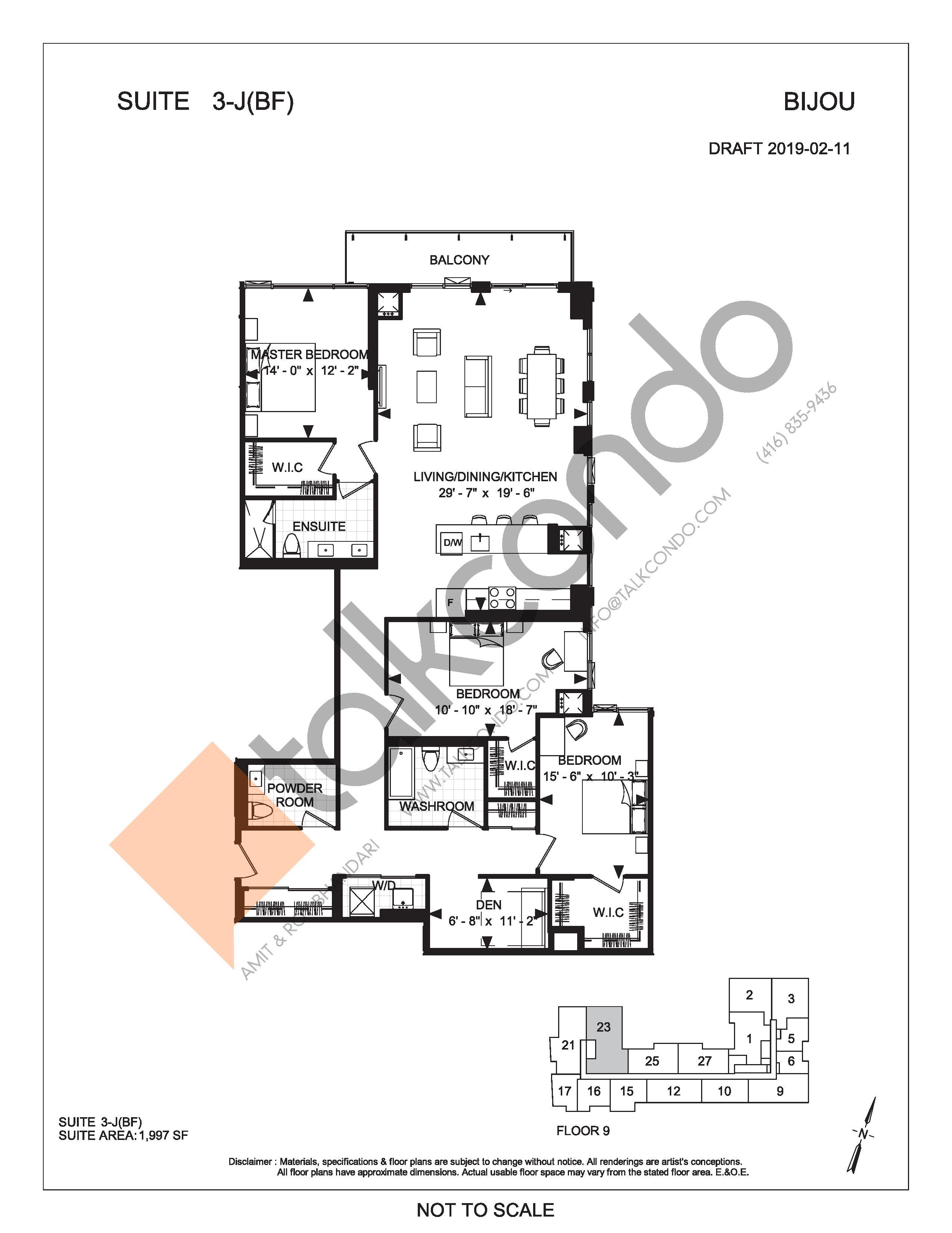 Suite 3-J (BF) Floor Plan at Bijou On Bloor Condos - 1997 sq.ft
