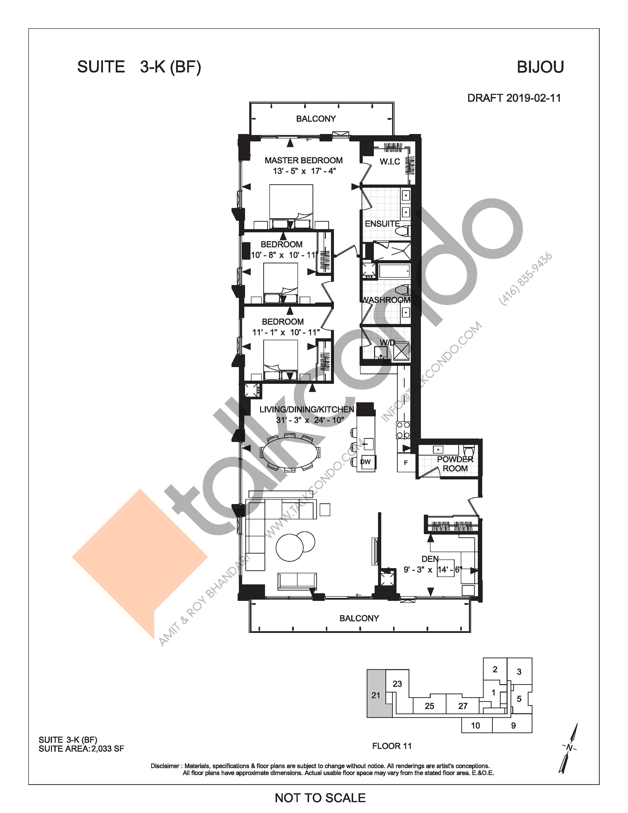 Suite 3-K (BF) Floor Plan at Bijou On Bloor Condos - 2033 sq.ft