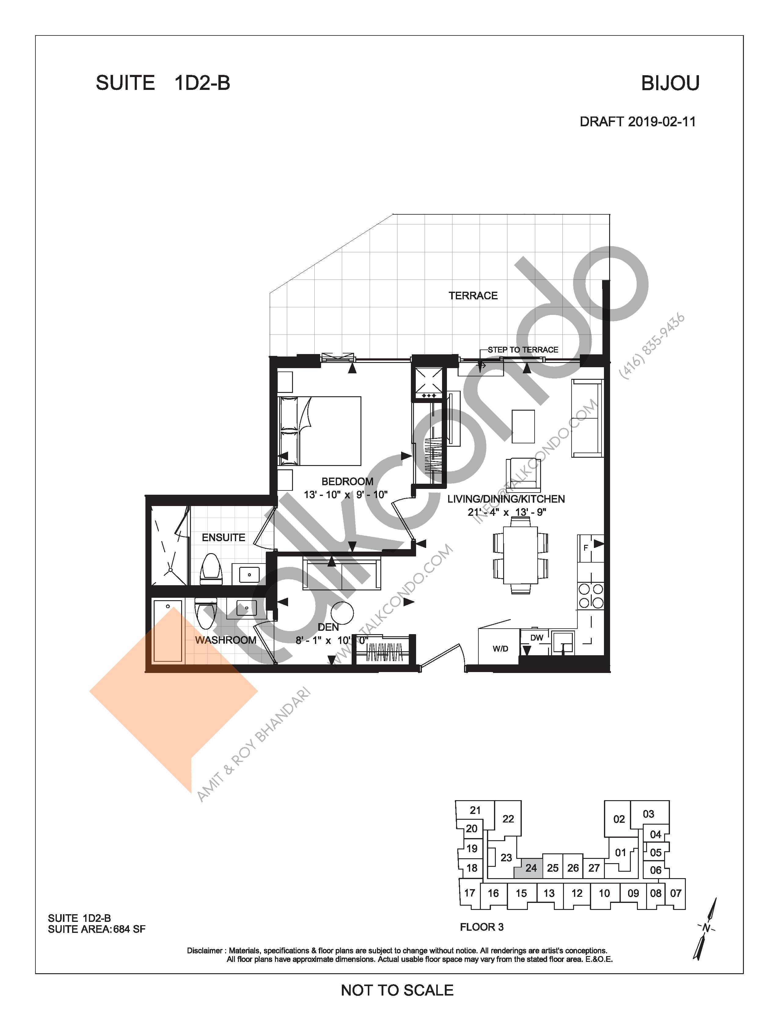 Suite 1D2-B (Terrace) Floor Plan at Bijou On Bloor Condos - 684 sq.ft