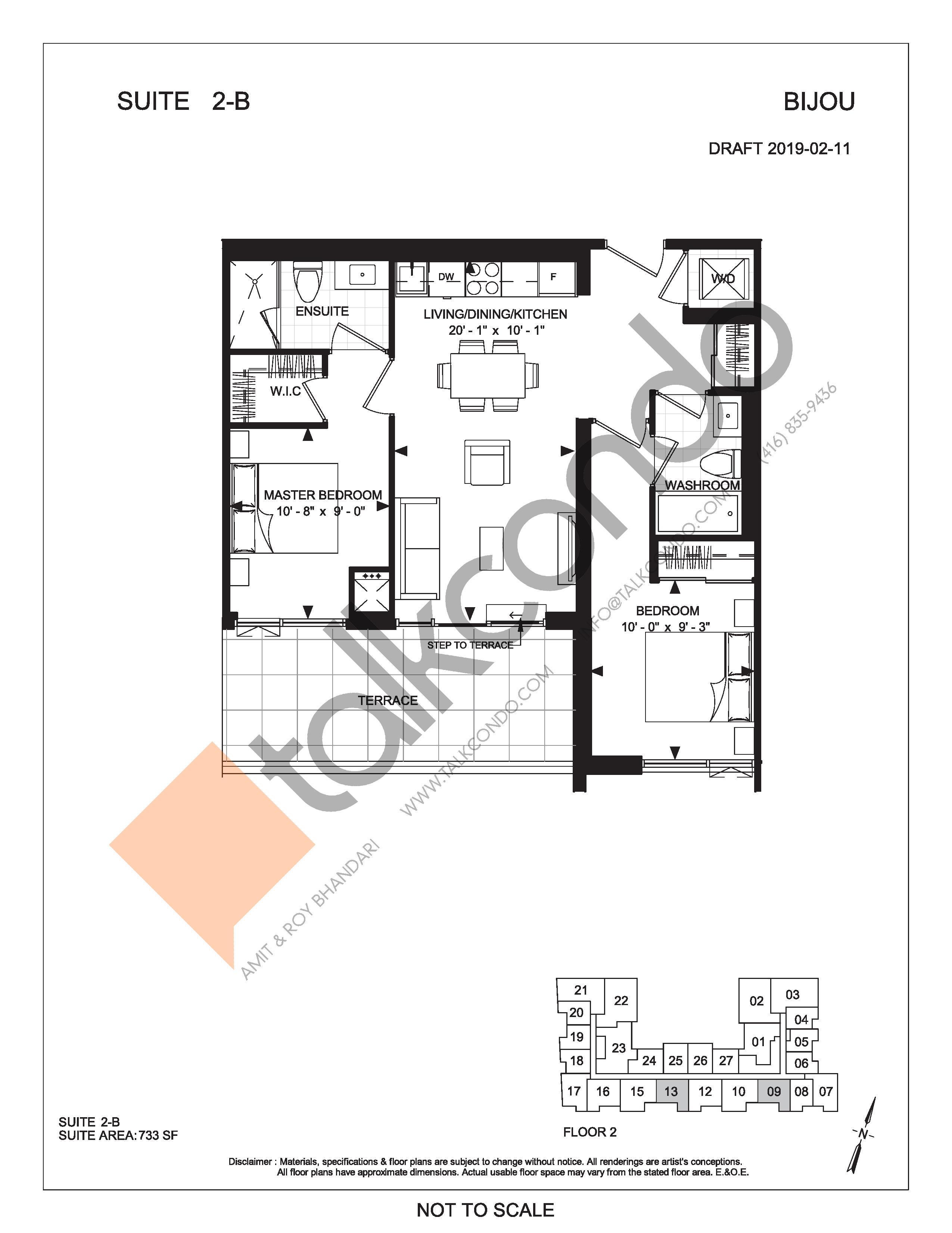 Suite 2-B (Terrace) Floor Plan at Bijou On Bloor Condos - 733 sq.ft