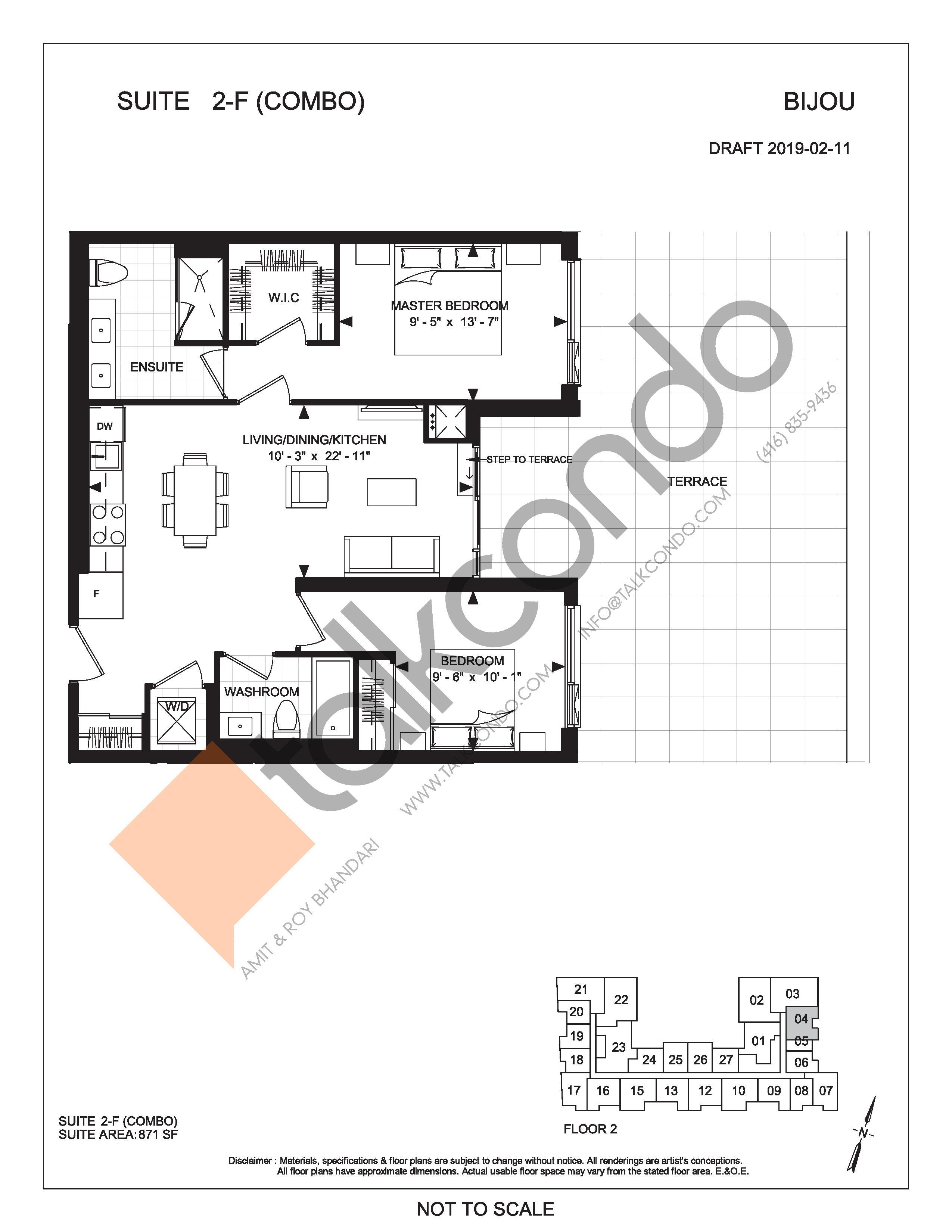 Suite 2-F (Combo) (Terrace) Floor Plan at Bijou On Bloor Condos - 871 sq.ft