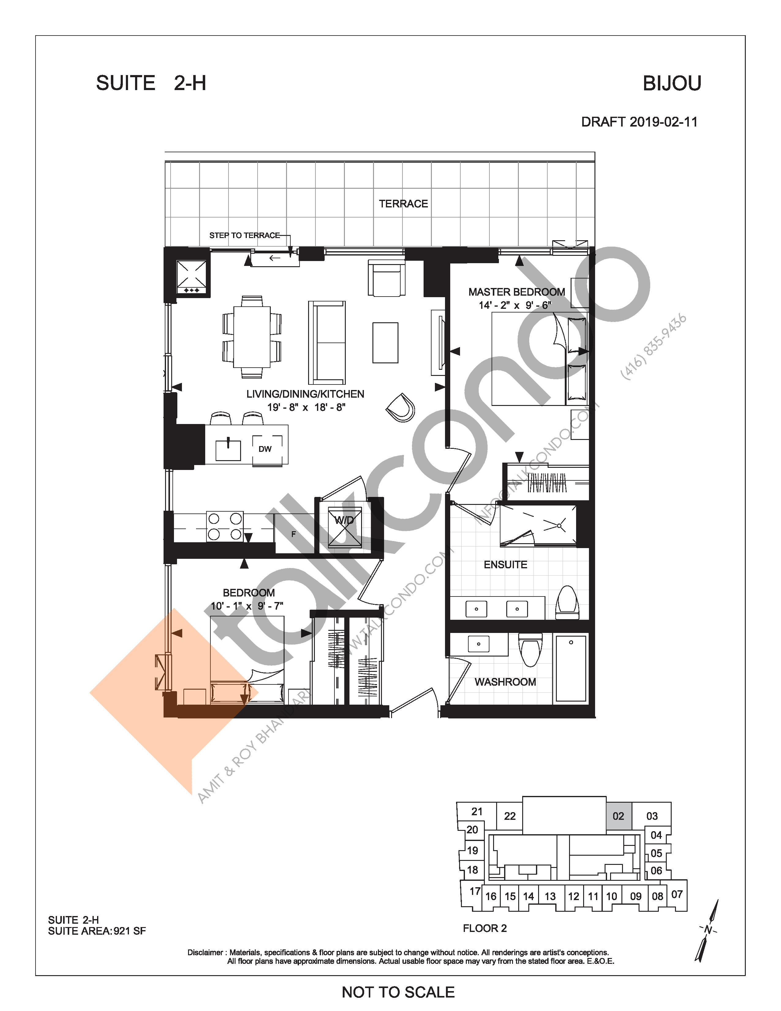 Suite 2-H (Terrace) Floor Plan at Bijou On Bloor Condos - 921 sq.ft