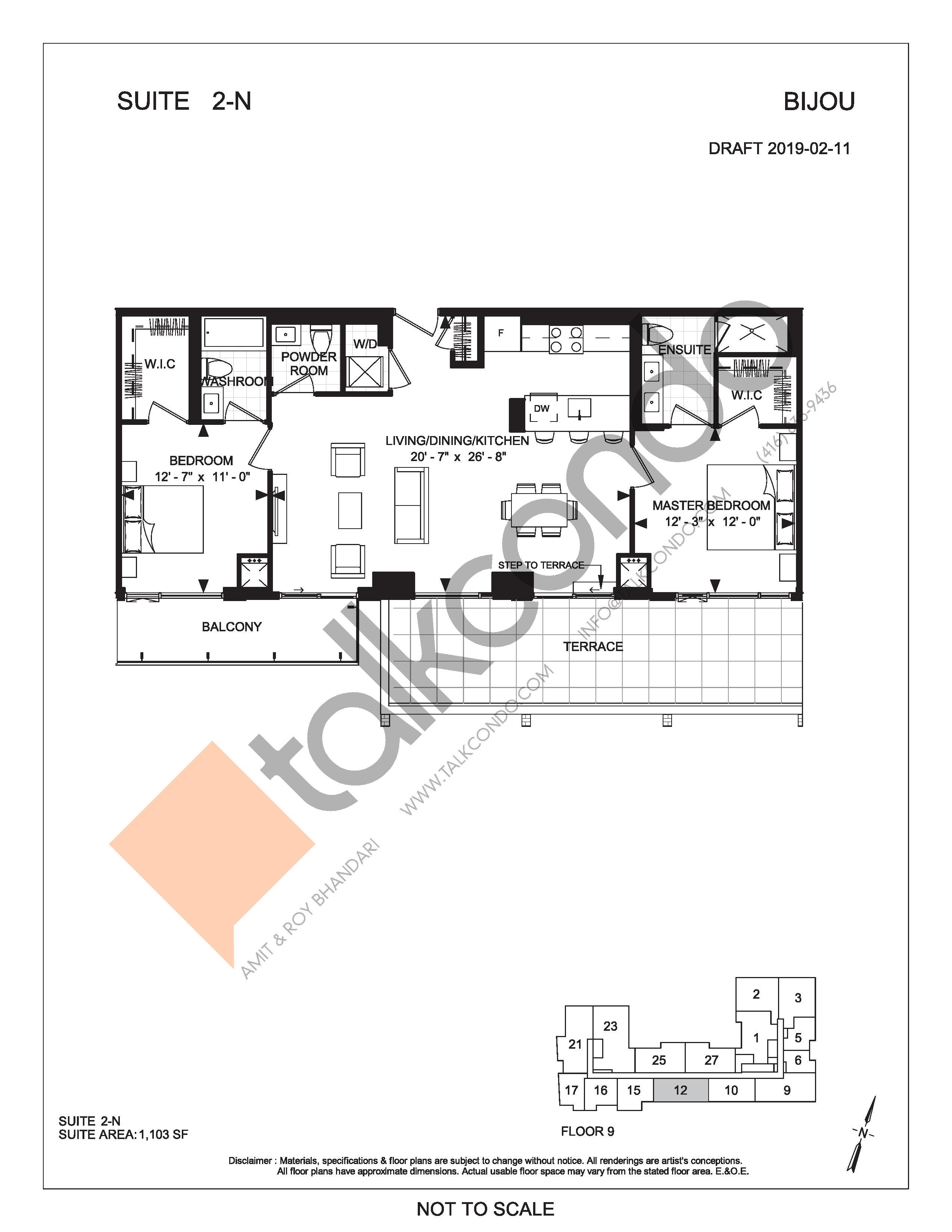 Suite 2-N (Terrace) Floor Plan at Bijou On Bloor Condos - 1103 sq.ft