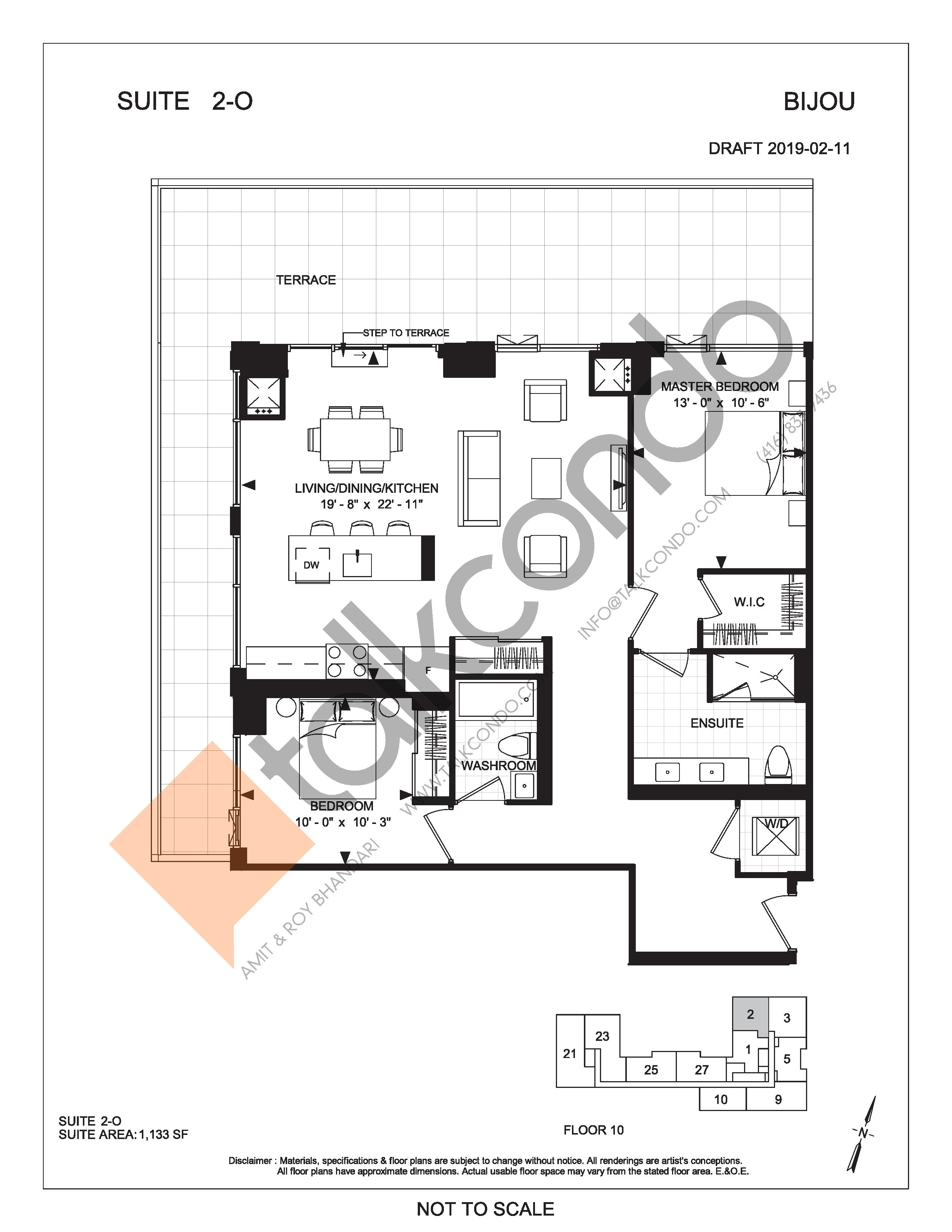 Suite 2-O (Terrace) Floor Plan at Bijou On Bloor Condos - 1133 sq.ft