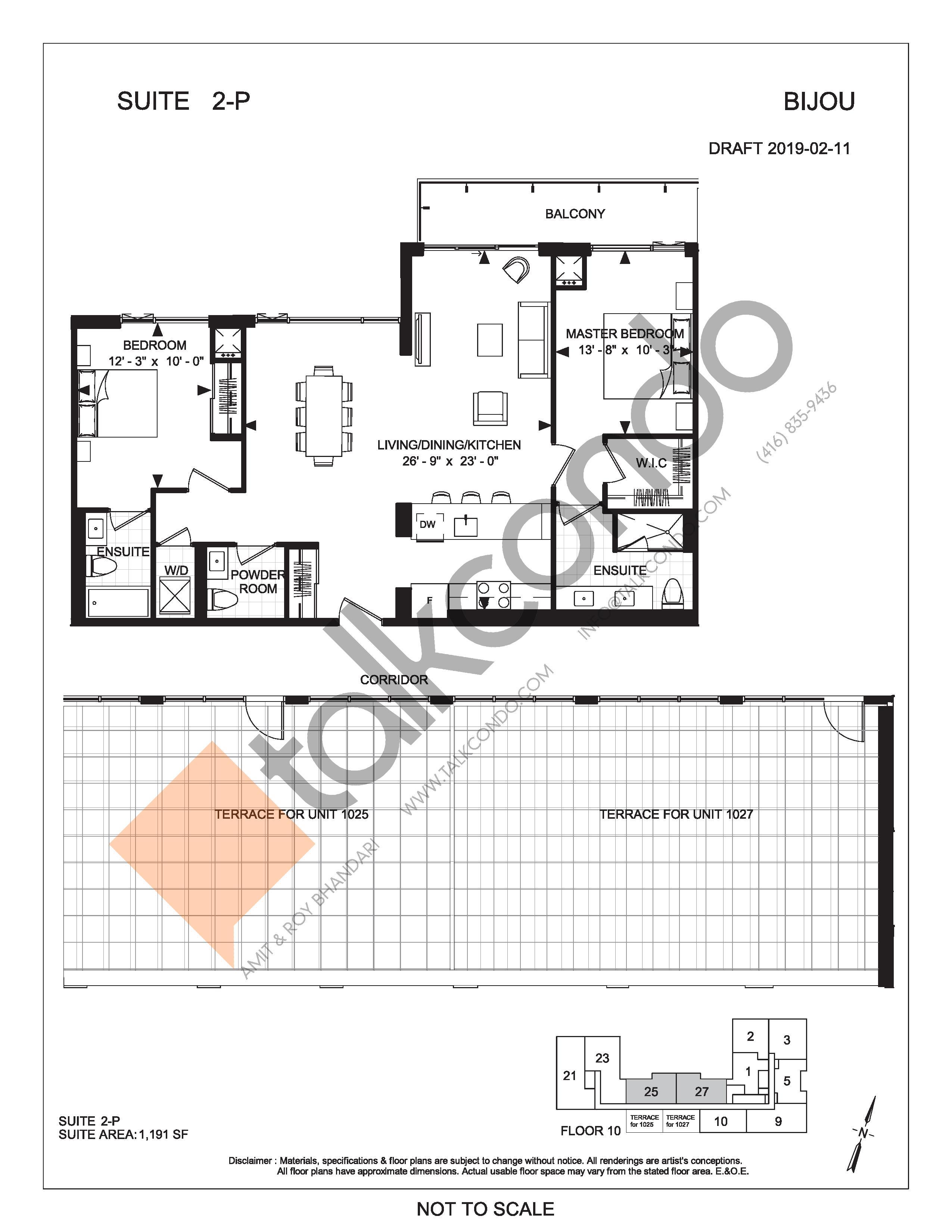 Suite 2-P (Terrace) Floor Plan at Bijou On Bloor Condos - 1191 sq.ft