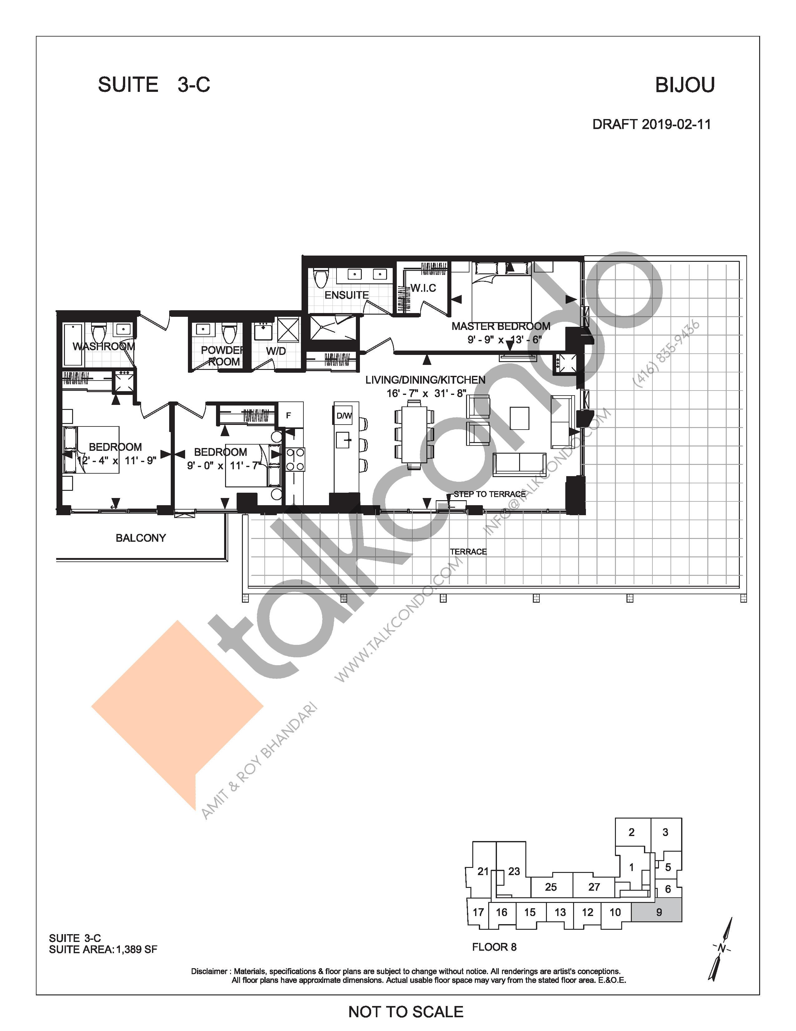 Suite 3-C (Terrace) Floor Plan at Bijou On Bloor Condos - 1389 sq.ft