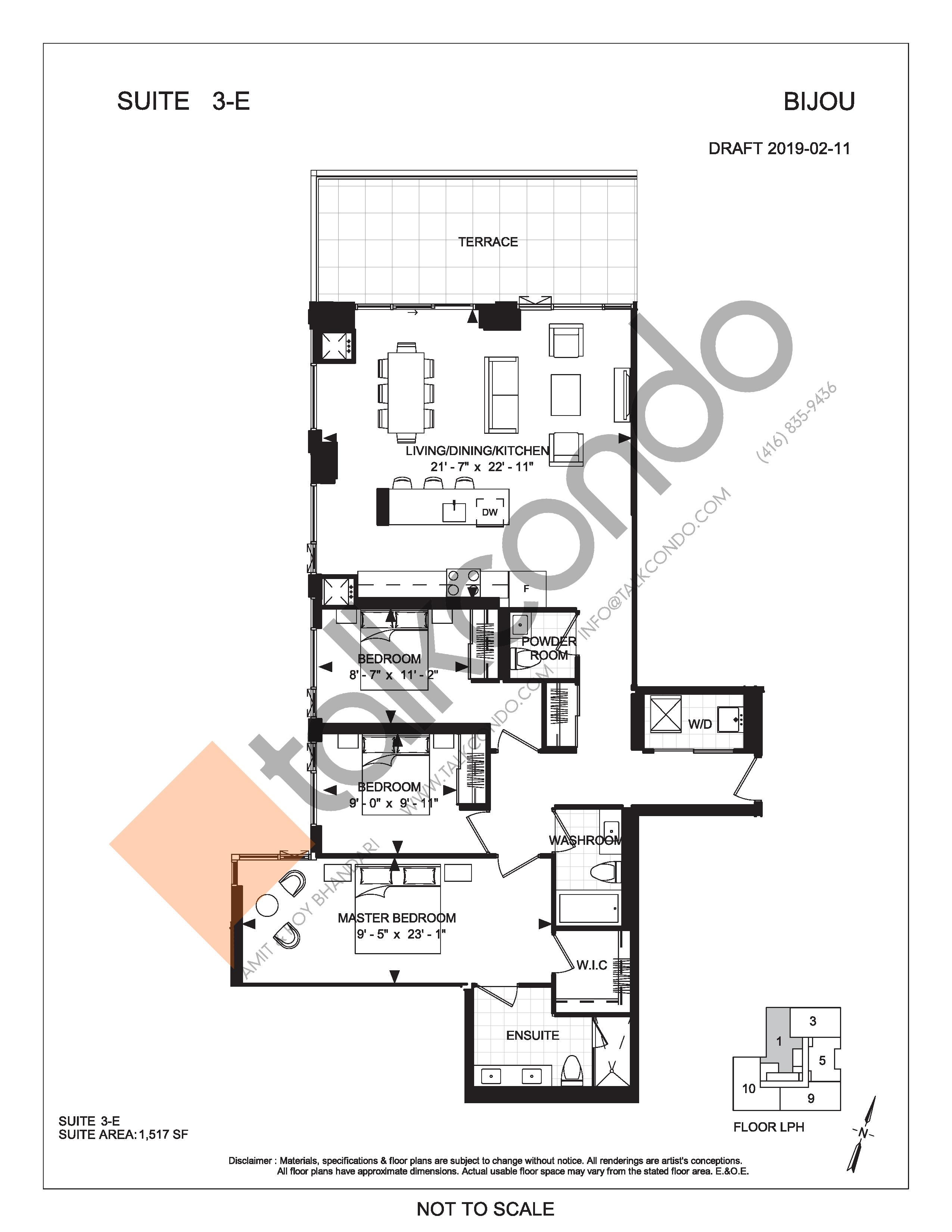 Suite 3-E (Terrace) Floor Plan at Bijou On Bloor Condos - 1517 sq.ft