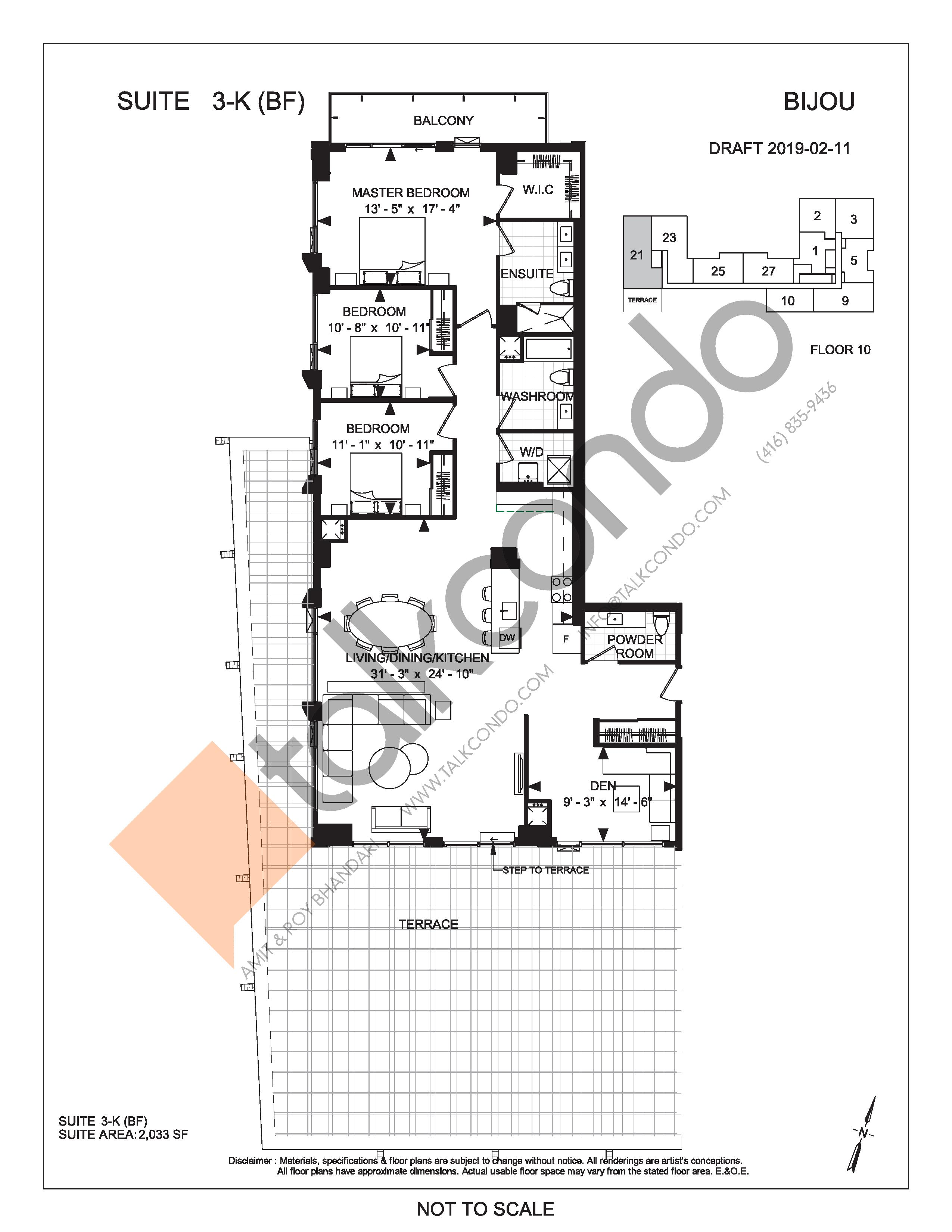 Suite 3-K (BF) (Terrace) Floor Plan at Bijou On Bloor Condos - 2033 sq.ft