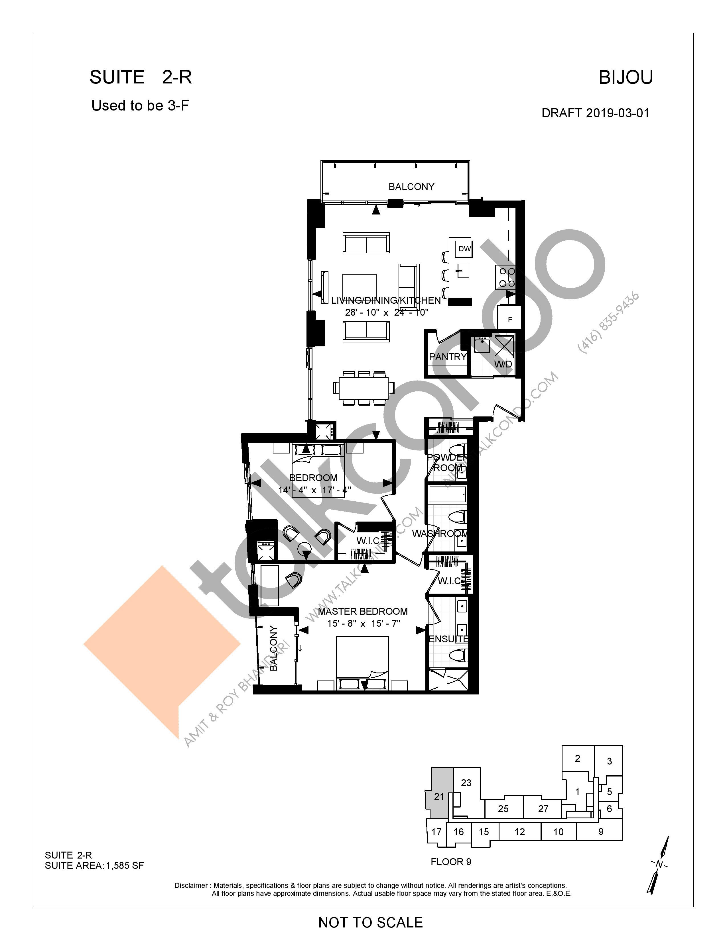 Suite 2-R Floor Plan at Bijou On Bloor Condos - 1585 sq.ft