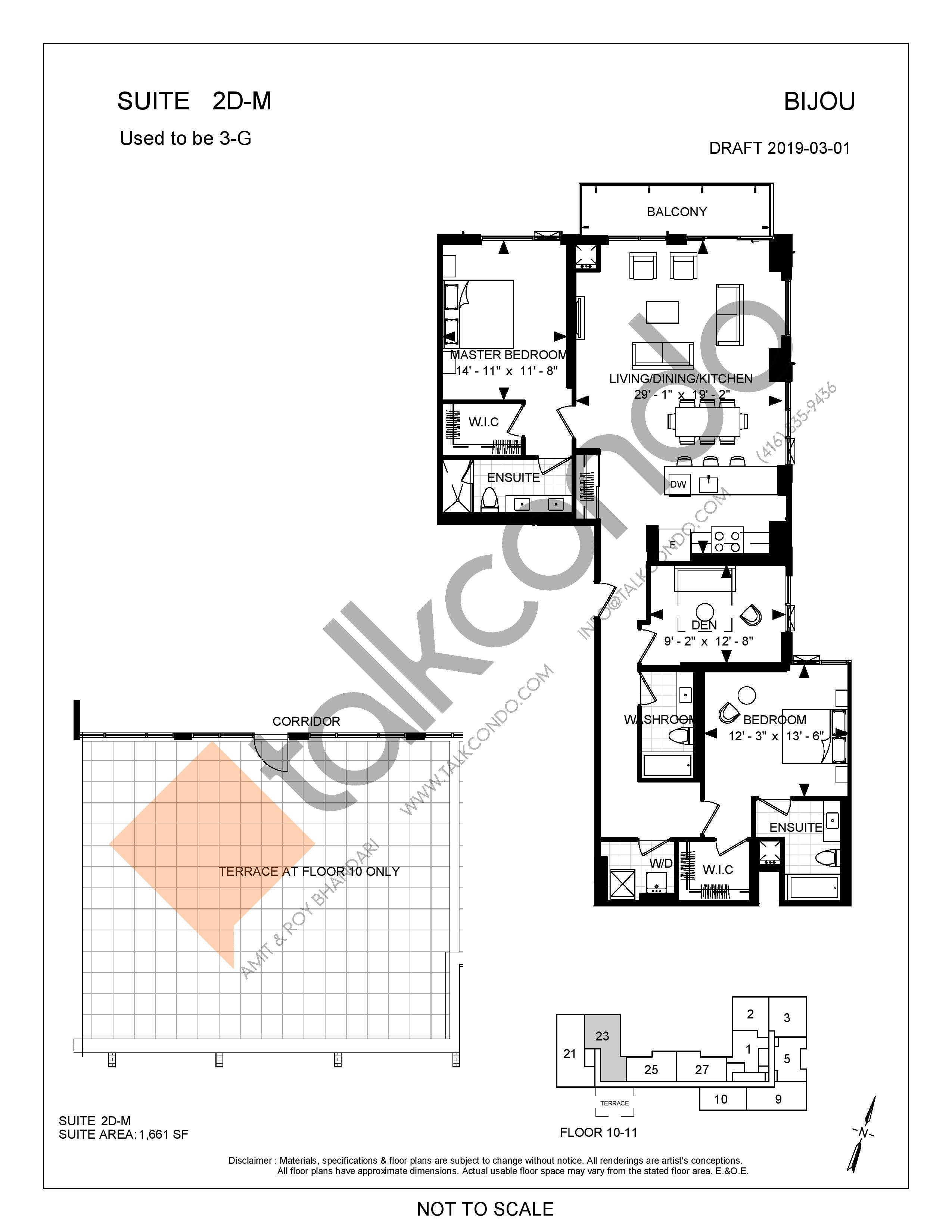 Suite 2D-M Floor Plan at Bijou On Bloor Condos - 1661 sq.ft