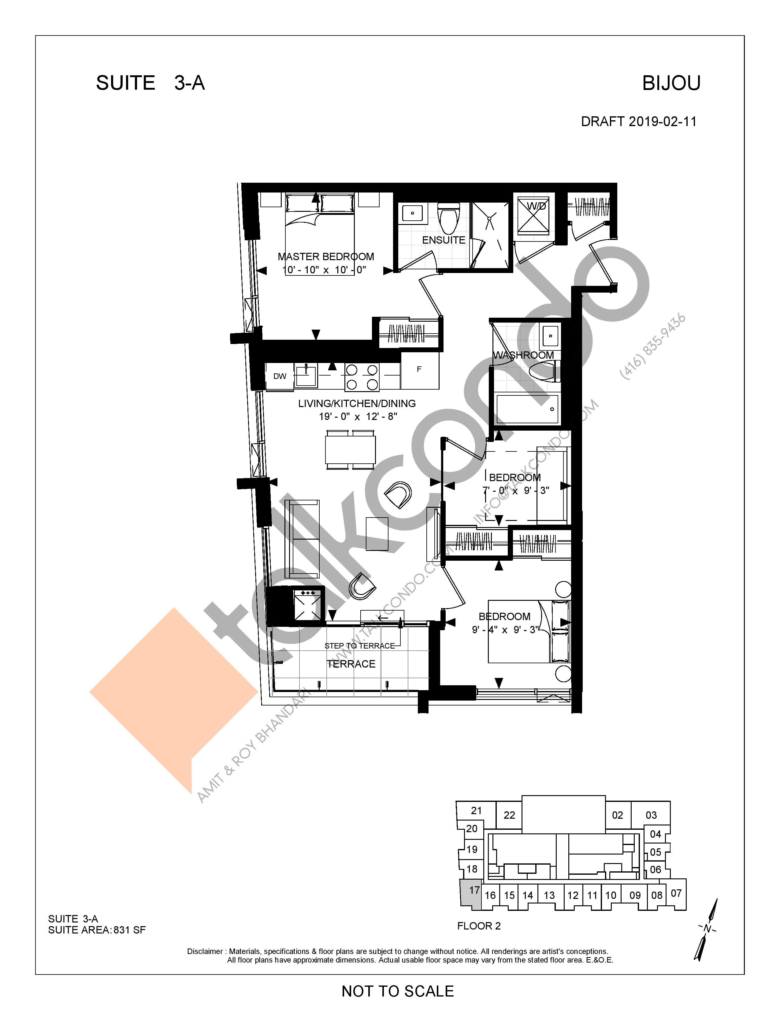 Suite 3-A Floor Plan at Bijou On Bloor Condos - 831 sq.ft