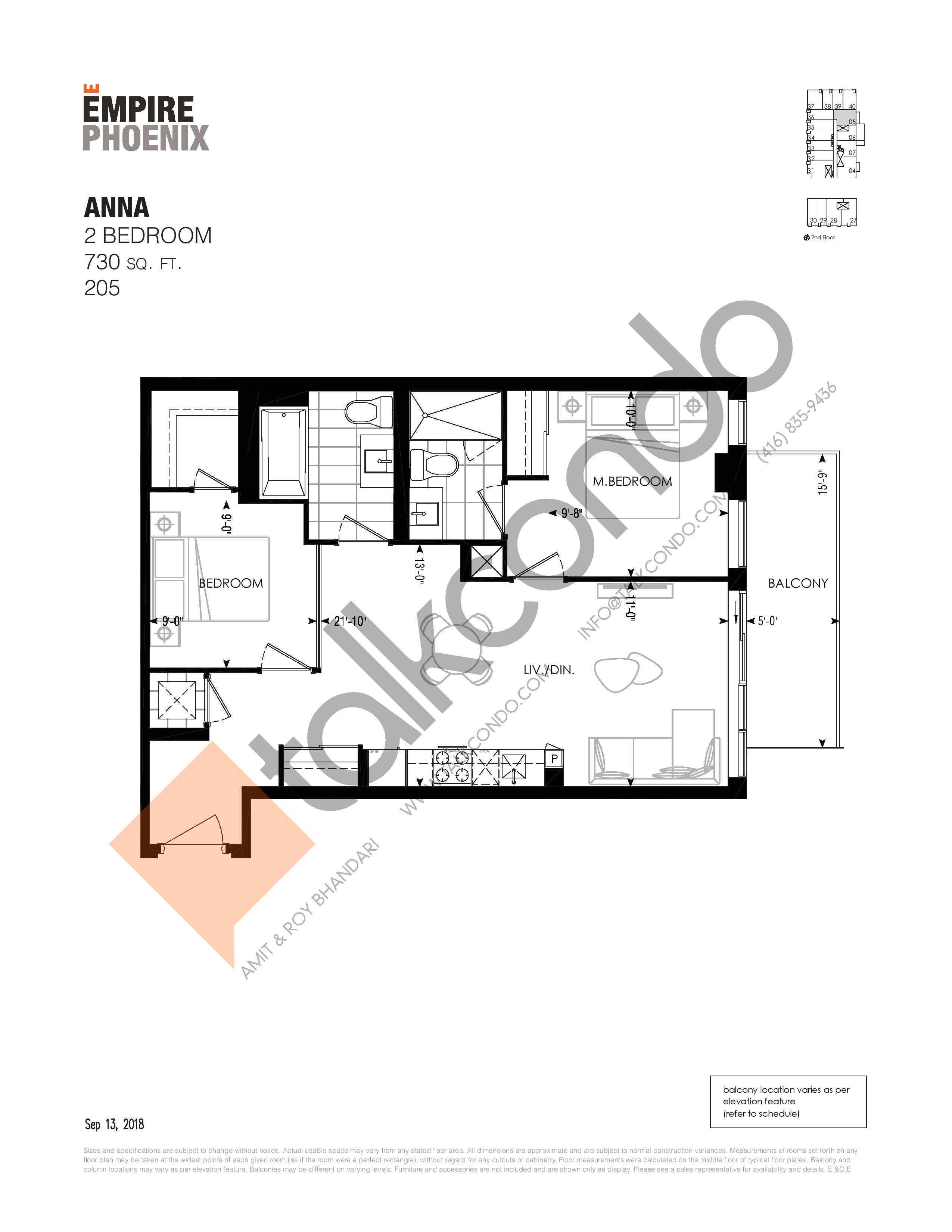 Anna Floor Plan at Empire Phoenix Phase 2 Condos - 730 sq.ft