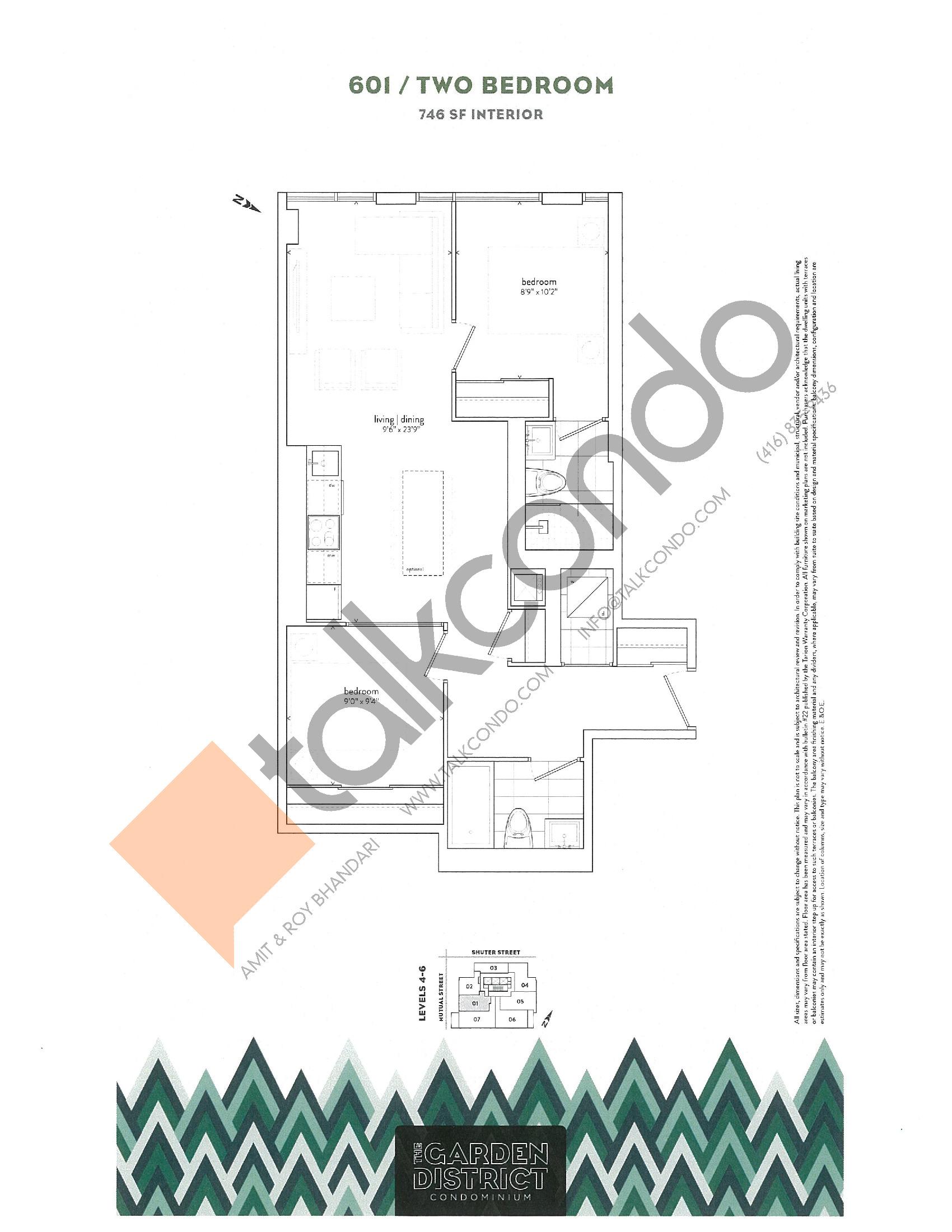 601 Floor Plan at Garden District Condos - 746 sq.ft