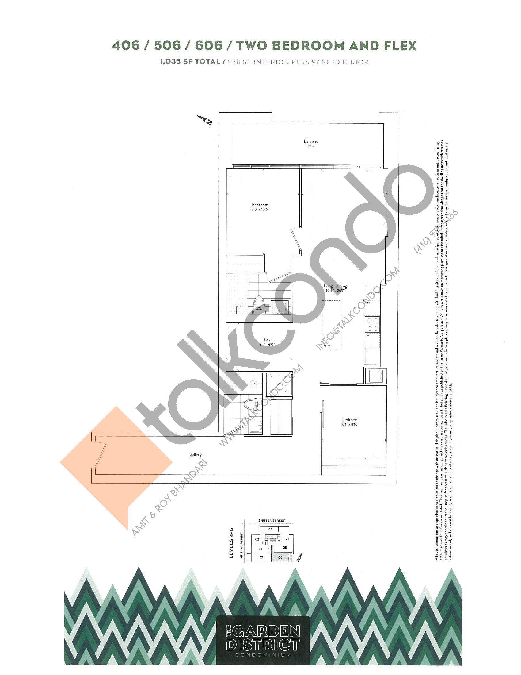 406 / 506 / 606 Floor Plan at Garden District Condos - 938 sq.ft