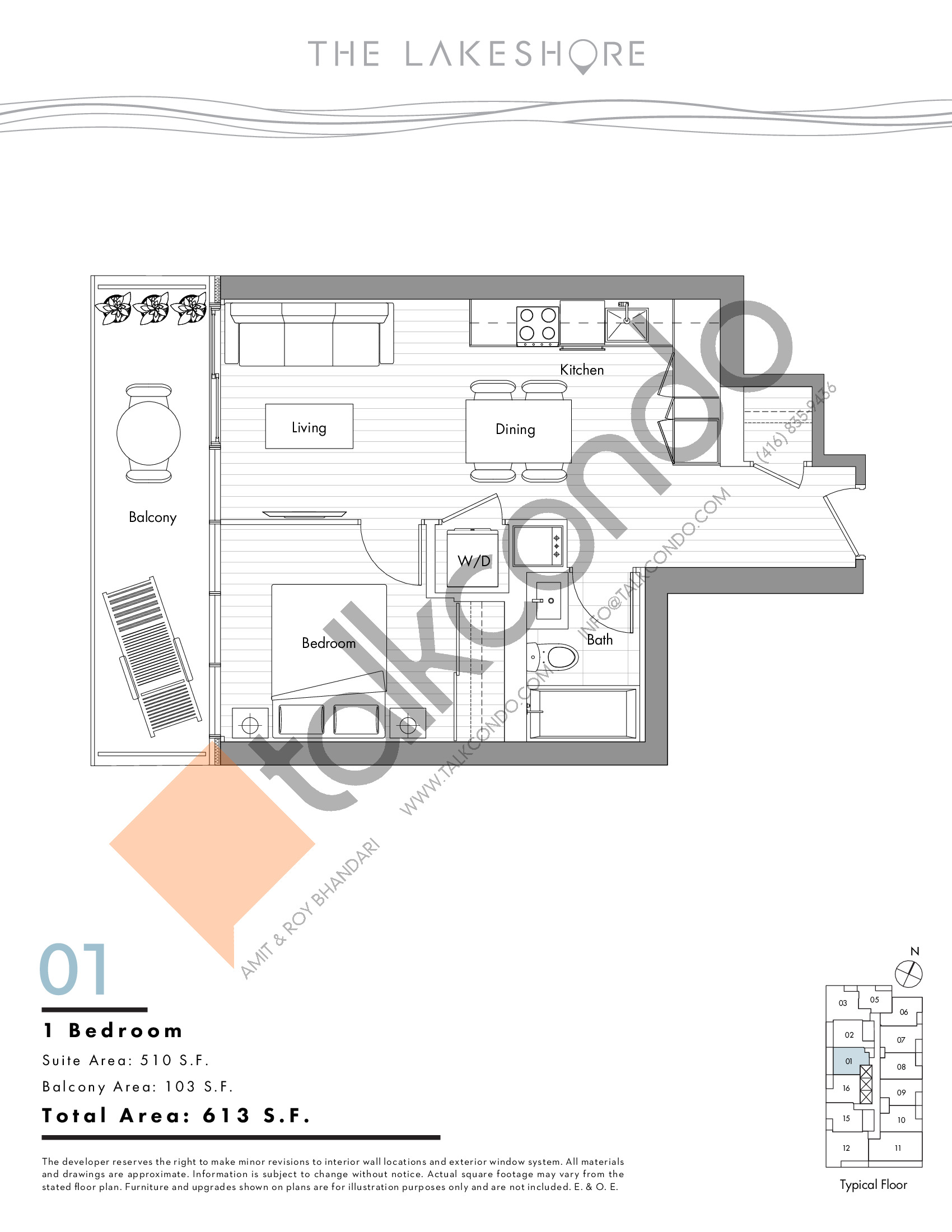 01 Floor Plan at The LakeShore Condos - 510 sq.ft