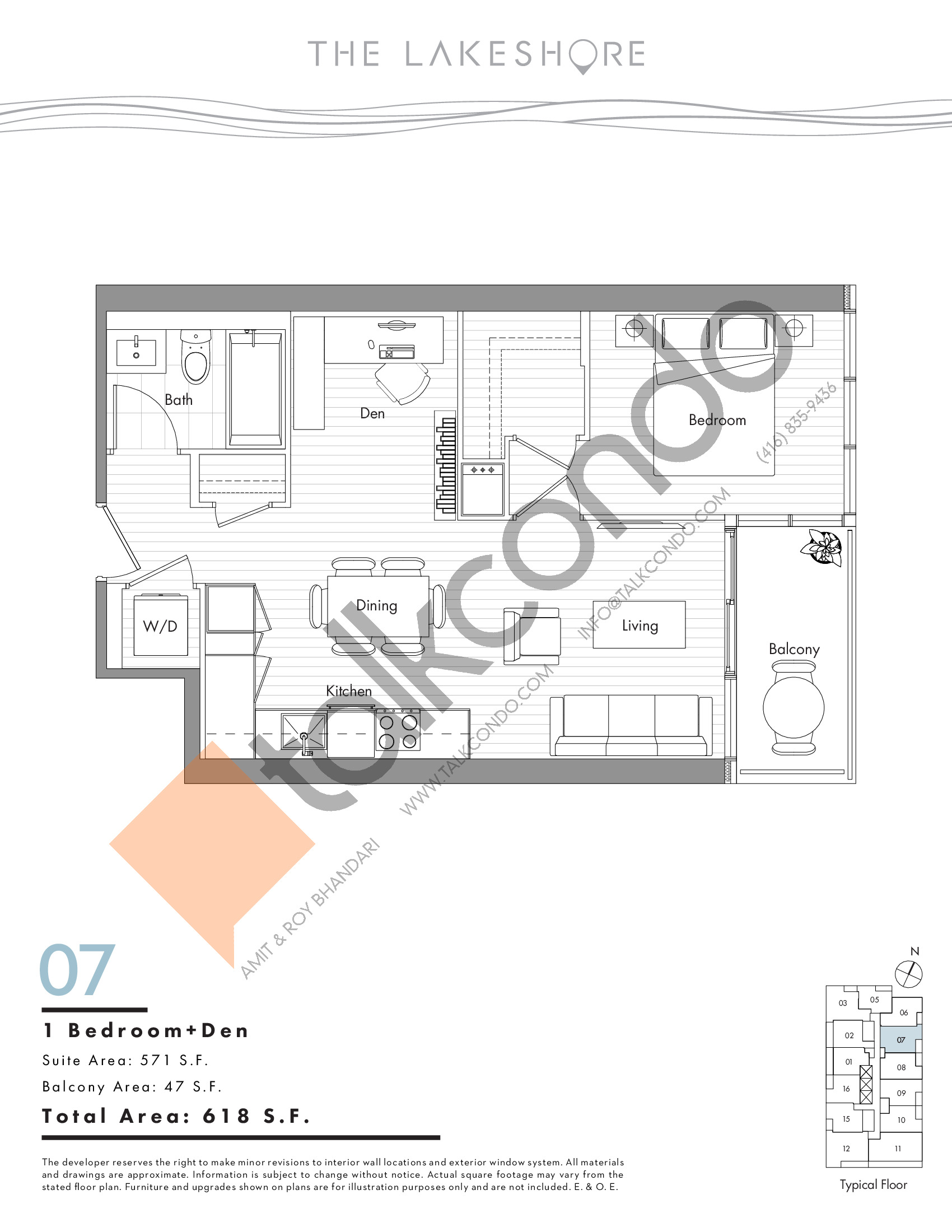 07 Floor Plan at The LakeShore Condos - 571 sq.ft