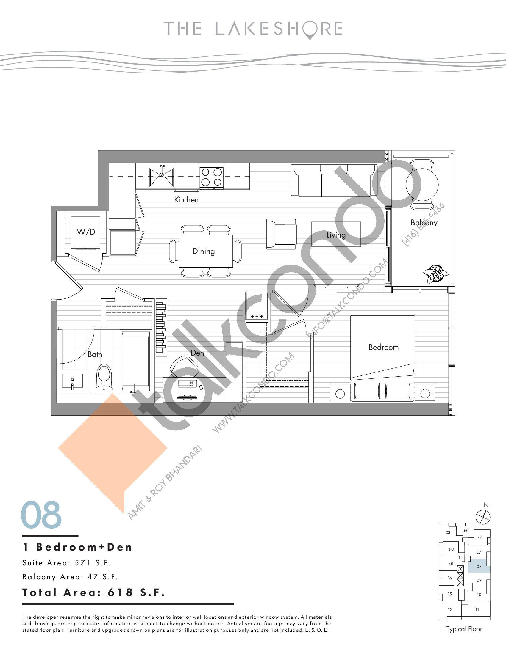 08 Floor Plan at The LakeShore Condos - 571 sq.ft