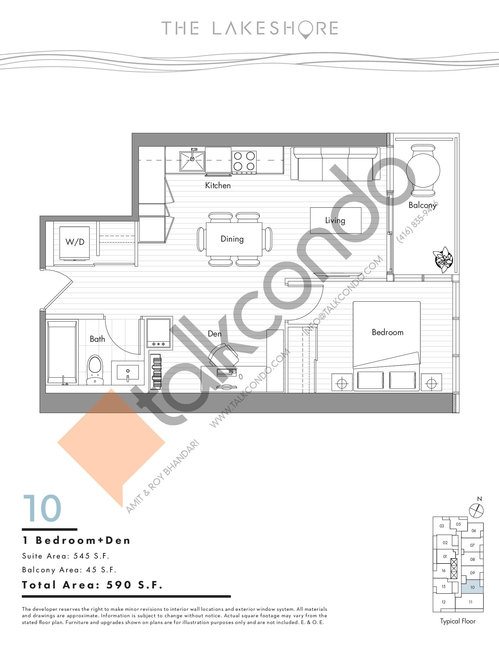 10 Floor Plan at The LakeShore Condos - 545 sq.ft