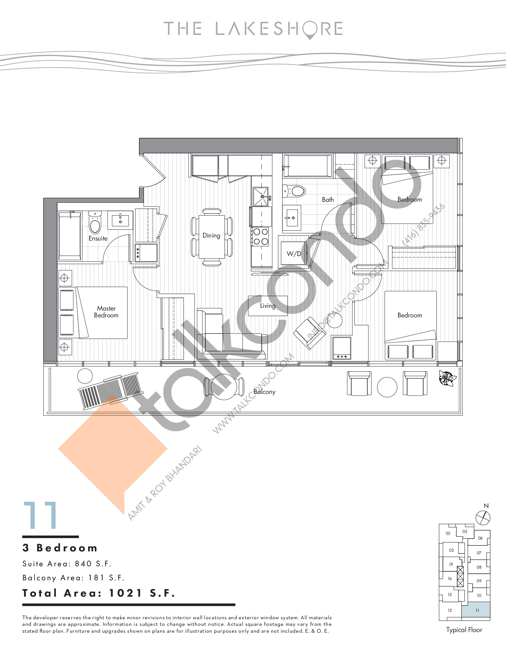 11 Floor Plan at The LakeShore Condos - 840 sq.ft