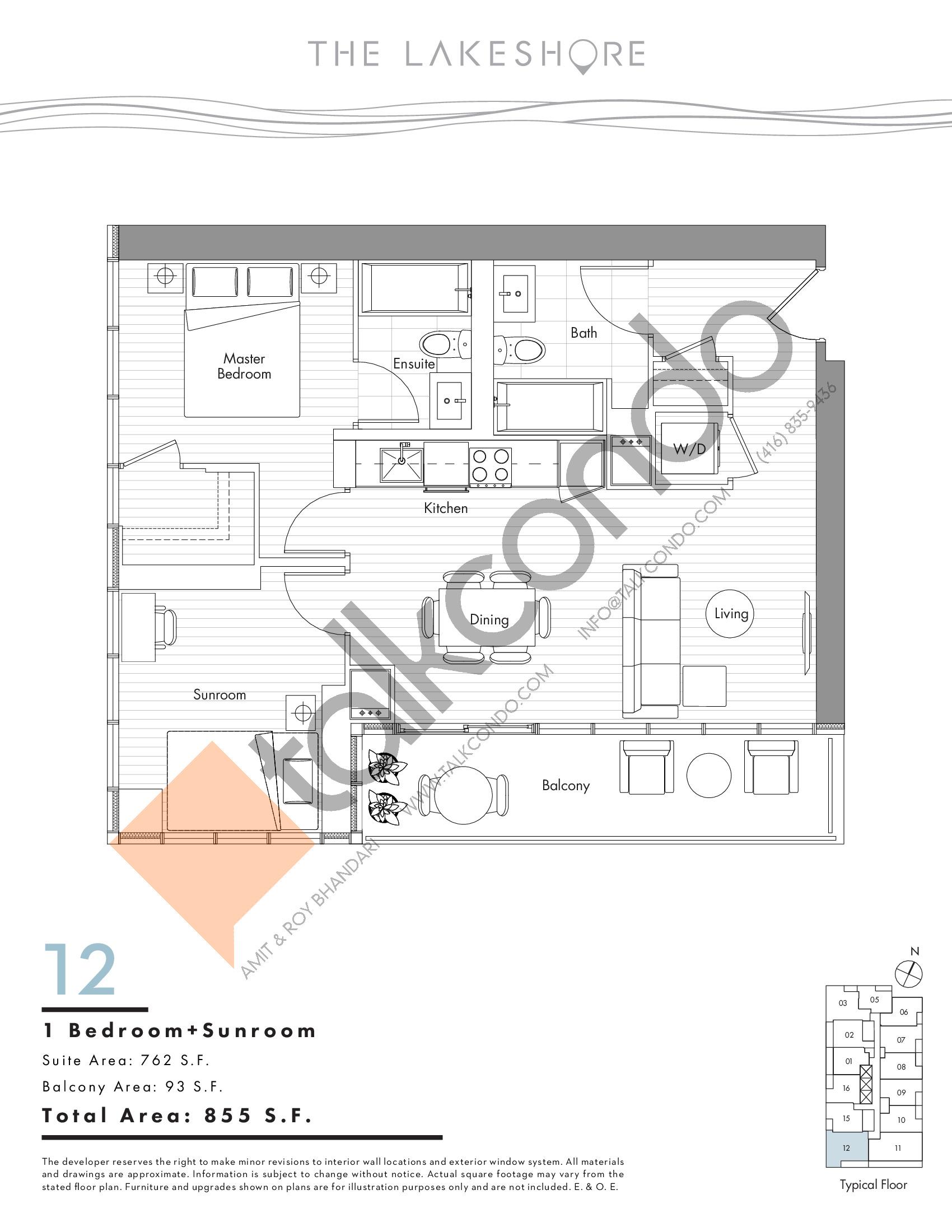 12 Floor Plan at The LakeShore Condos - 762 sq.ft